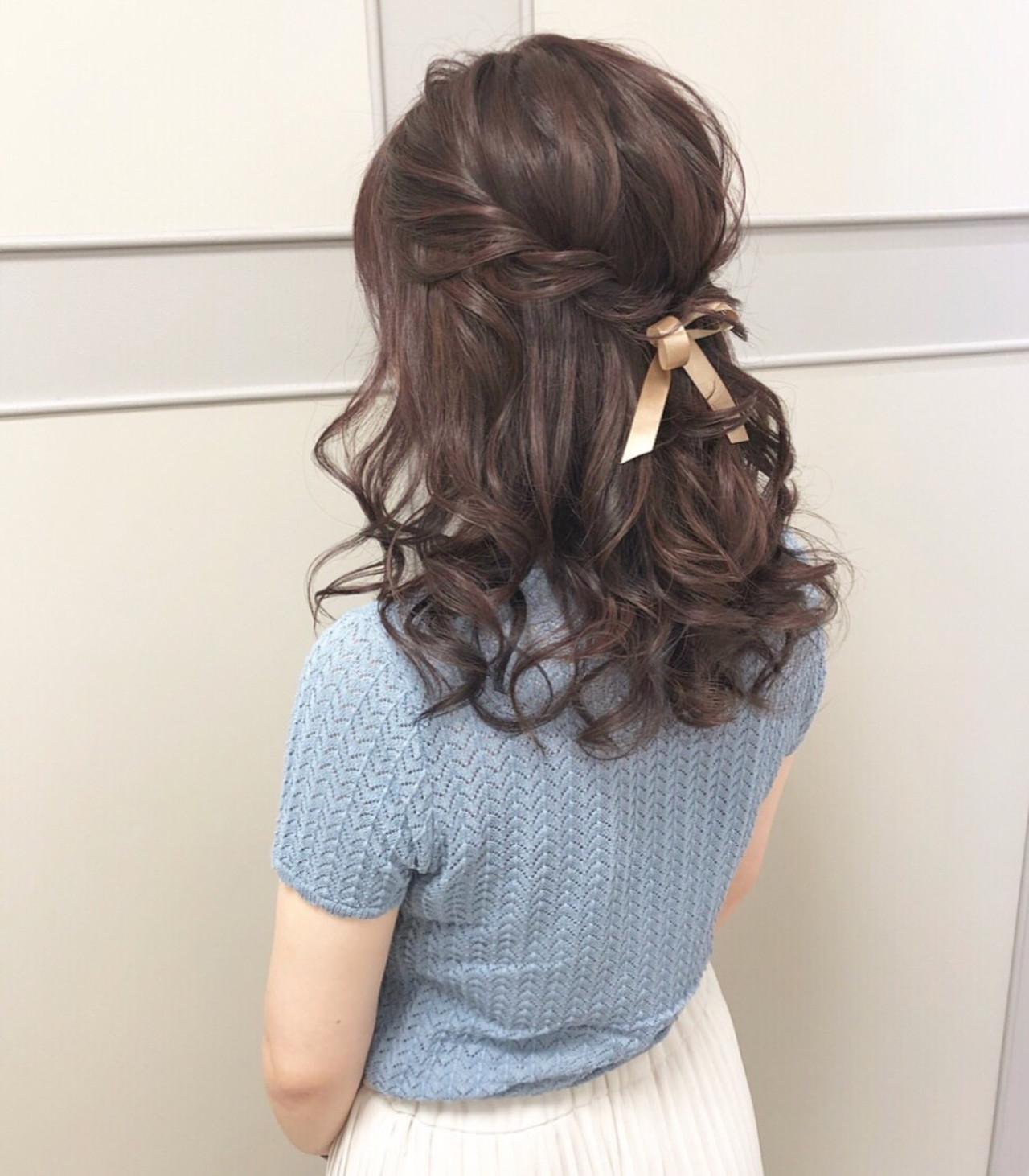 大人可愛い デート ガーリー 簡単ヘアアレンジ ヘアスタイルや髪型の写真・画像