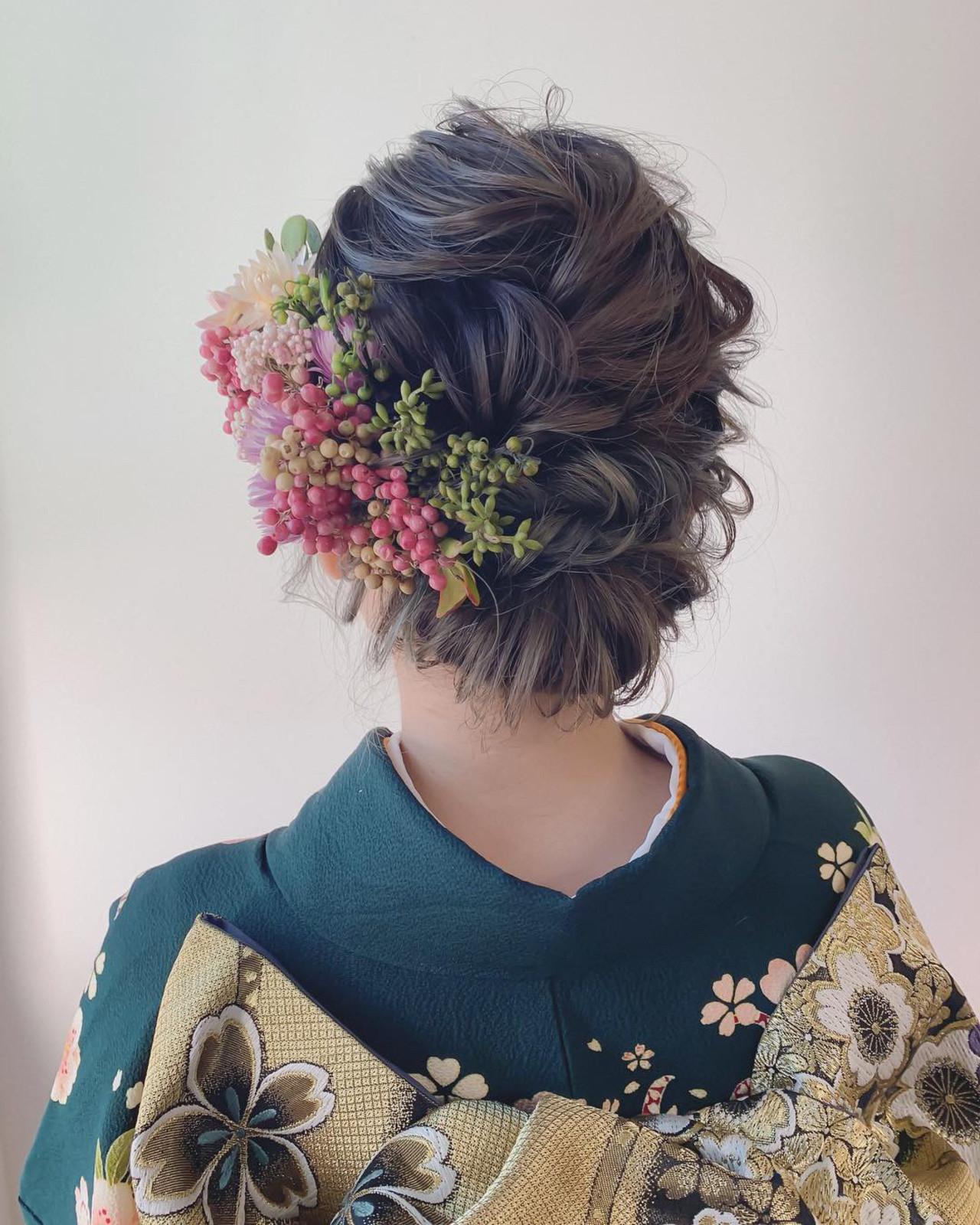 結婚式 フェミニン ブライダル ヘアアレンジ ヘアスタイルや髪型の写真・画像