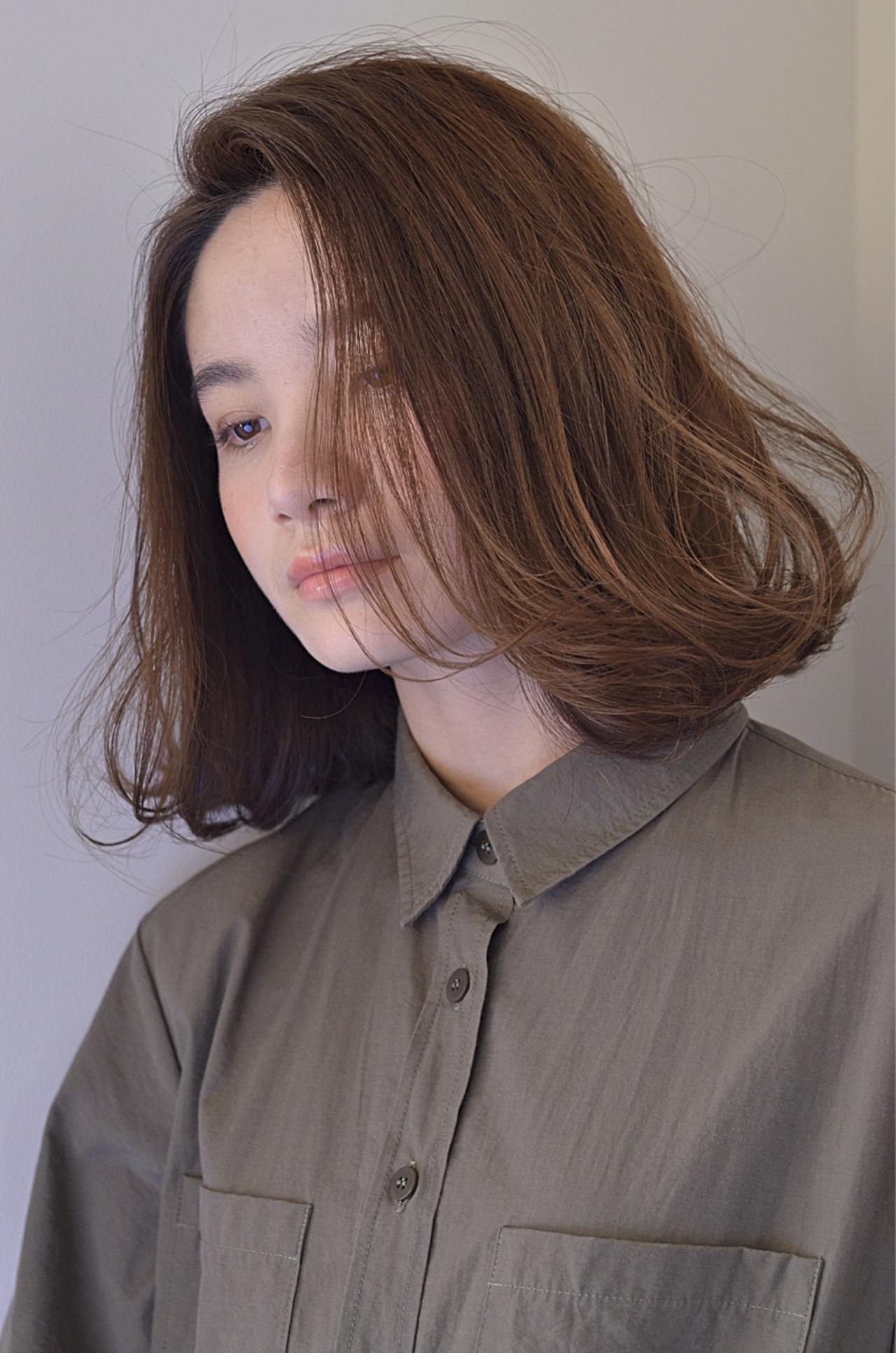 パーマ ニュアンス ボブ アッシュ ヘアスタイルや髪型の写真・画像