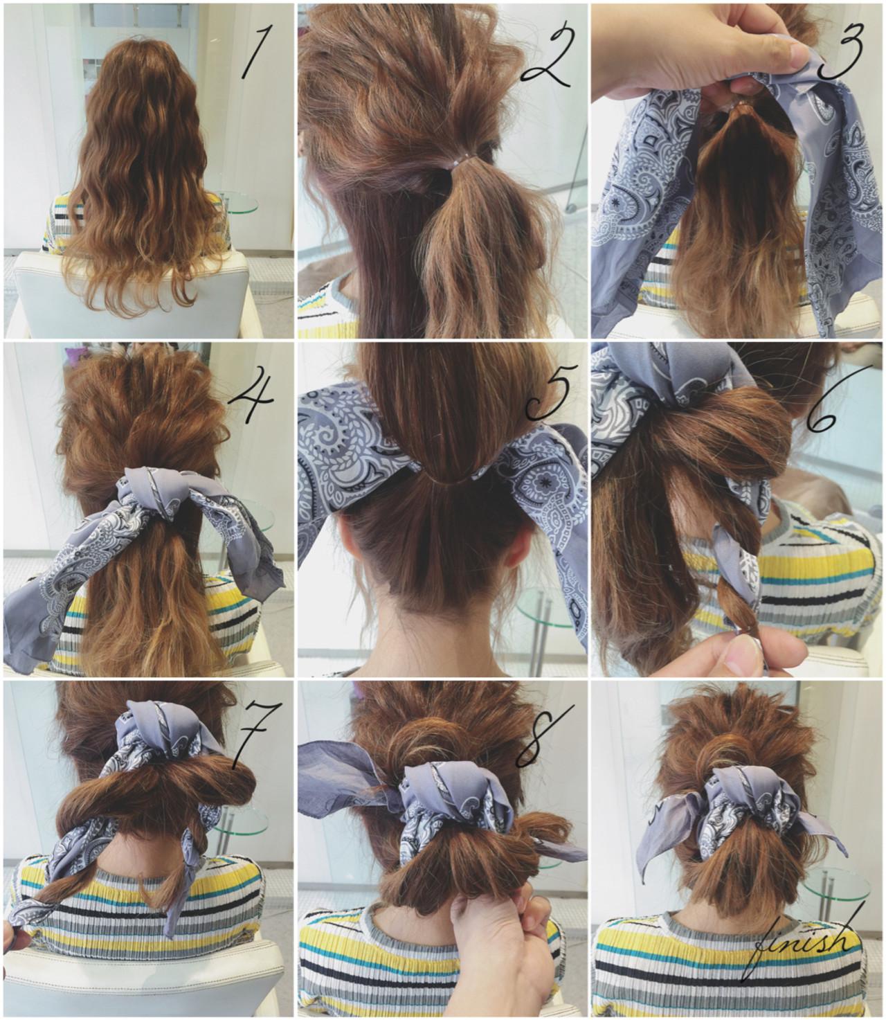 ショート ヘアアクセ バンダナ ロング ヘアスタイルや髪型の写真・画像