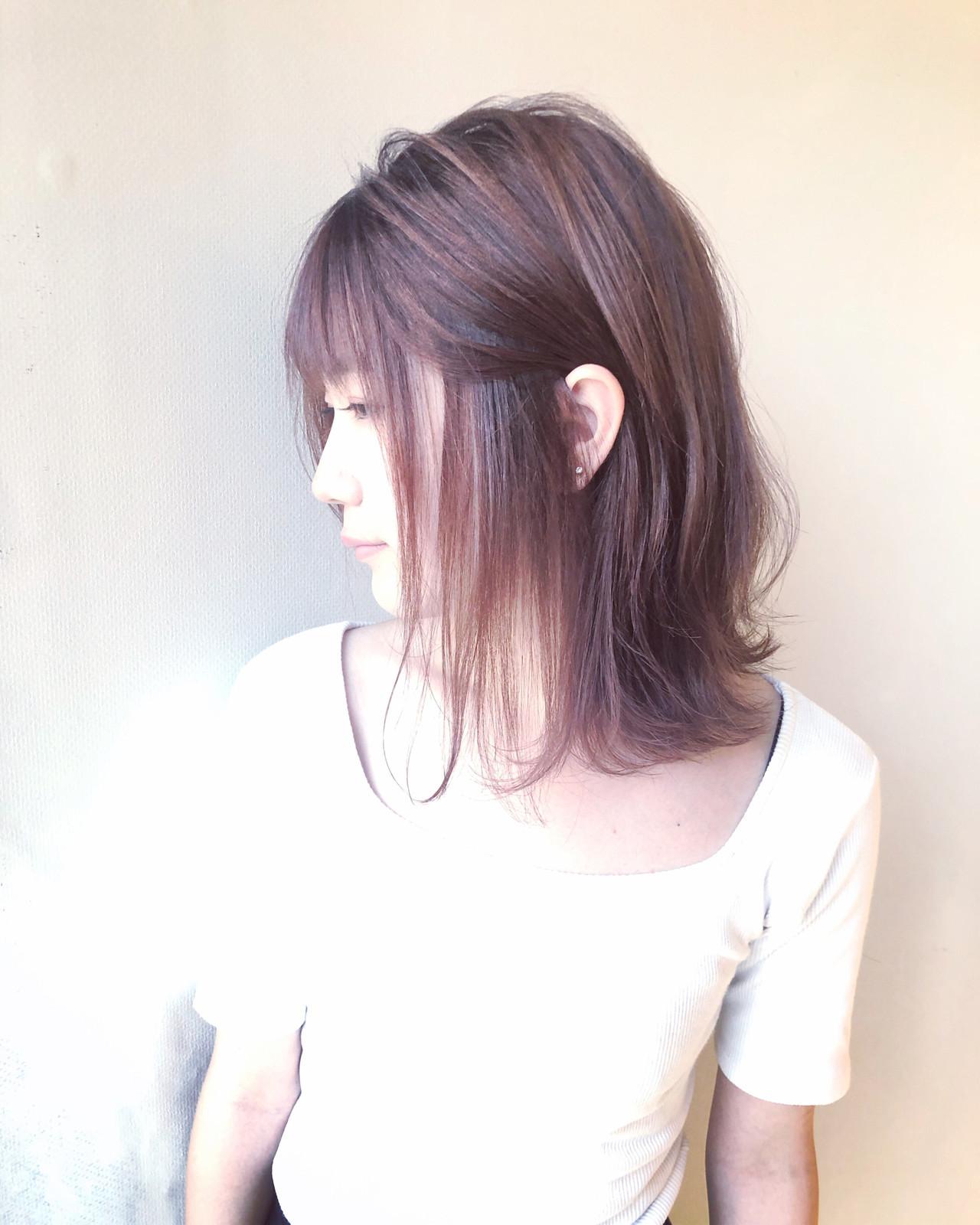 ダメージレス 透明感 ツヤ髪 ミディアム ヘアスタイルや髪型の写真・画像