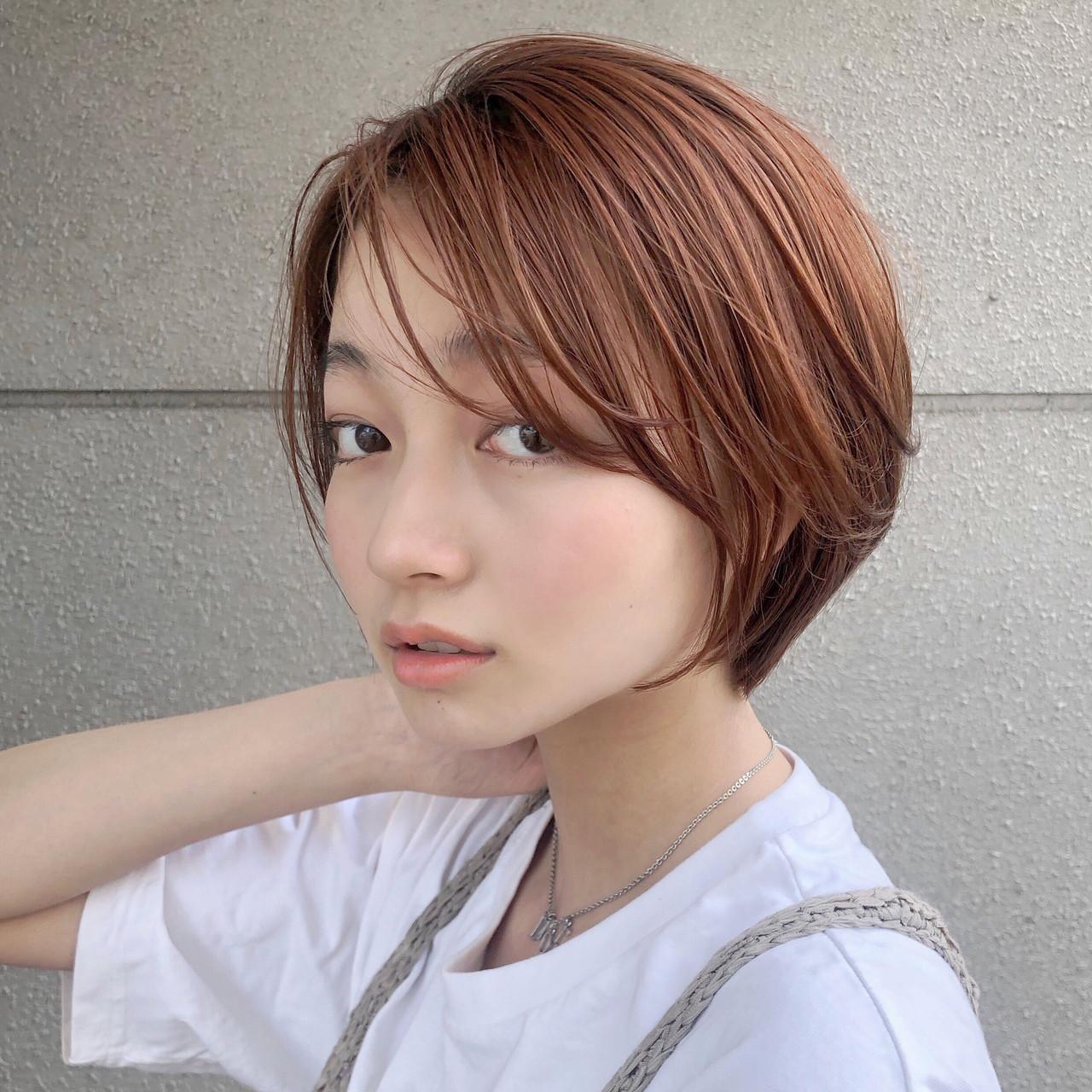 ナチュラル 簡単ヘアアレンジ オレンジブラウン ボブ ヘアスタイルや髪型の写真・画像
