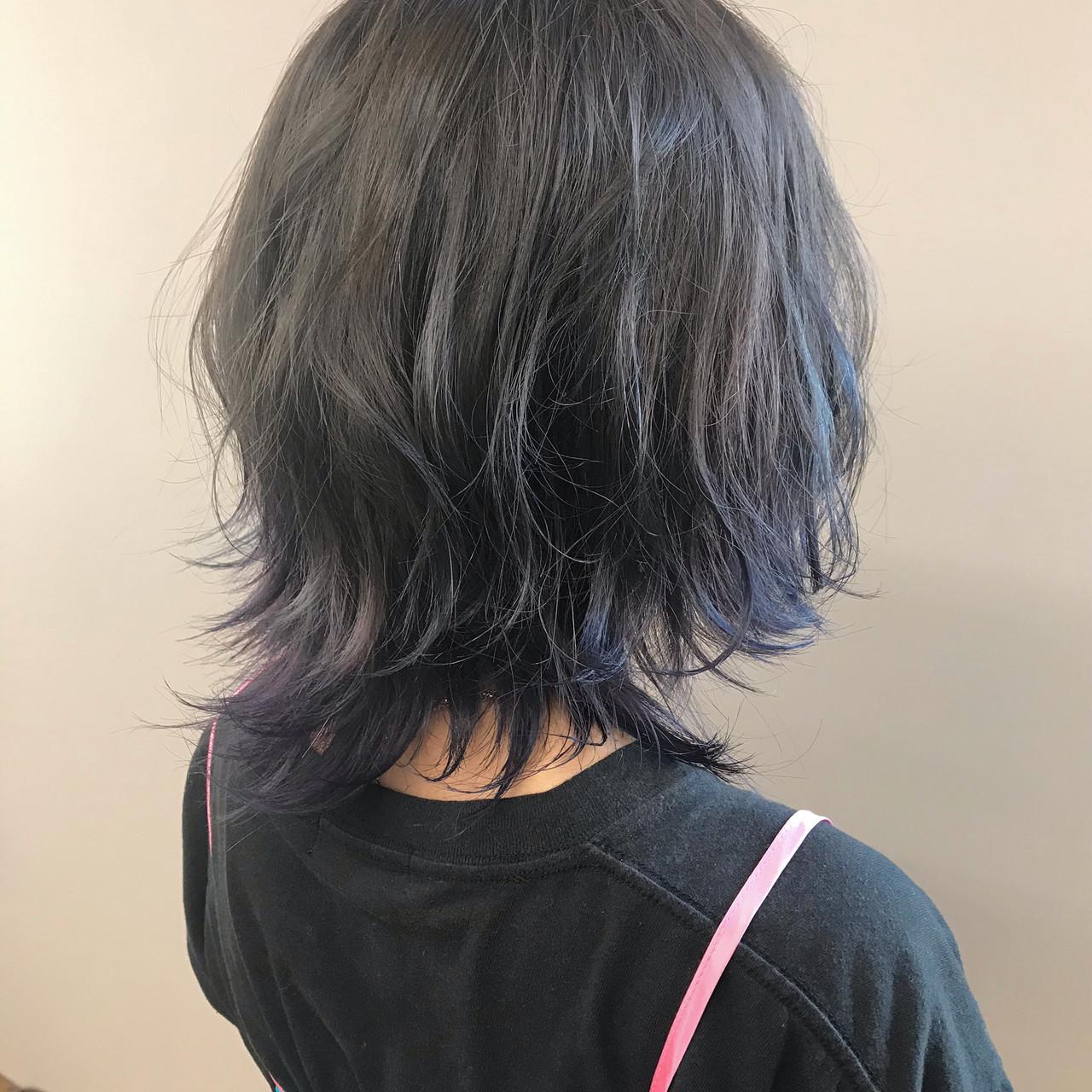 アッシュグレー ボブ アディクシーカラー ダブルカラー ヘアスタイルや髪型の写真・画像