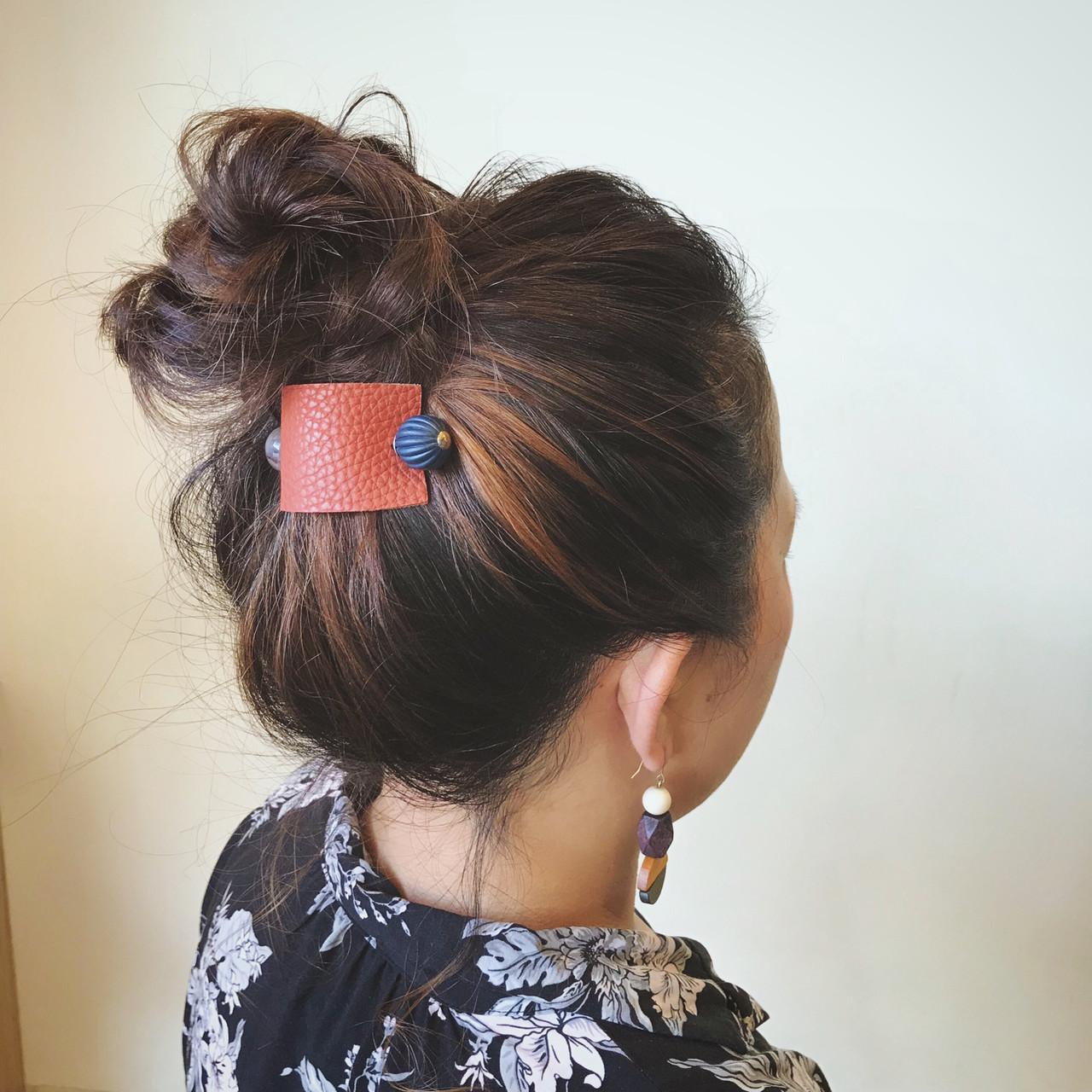 お団子アレンジ スポーツ おだんご 簡単ヘアアレンジ ヘアスタイルや髪型の写真・画像