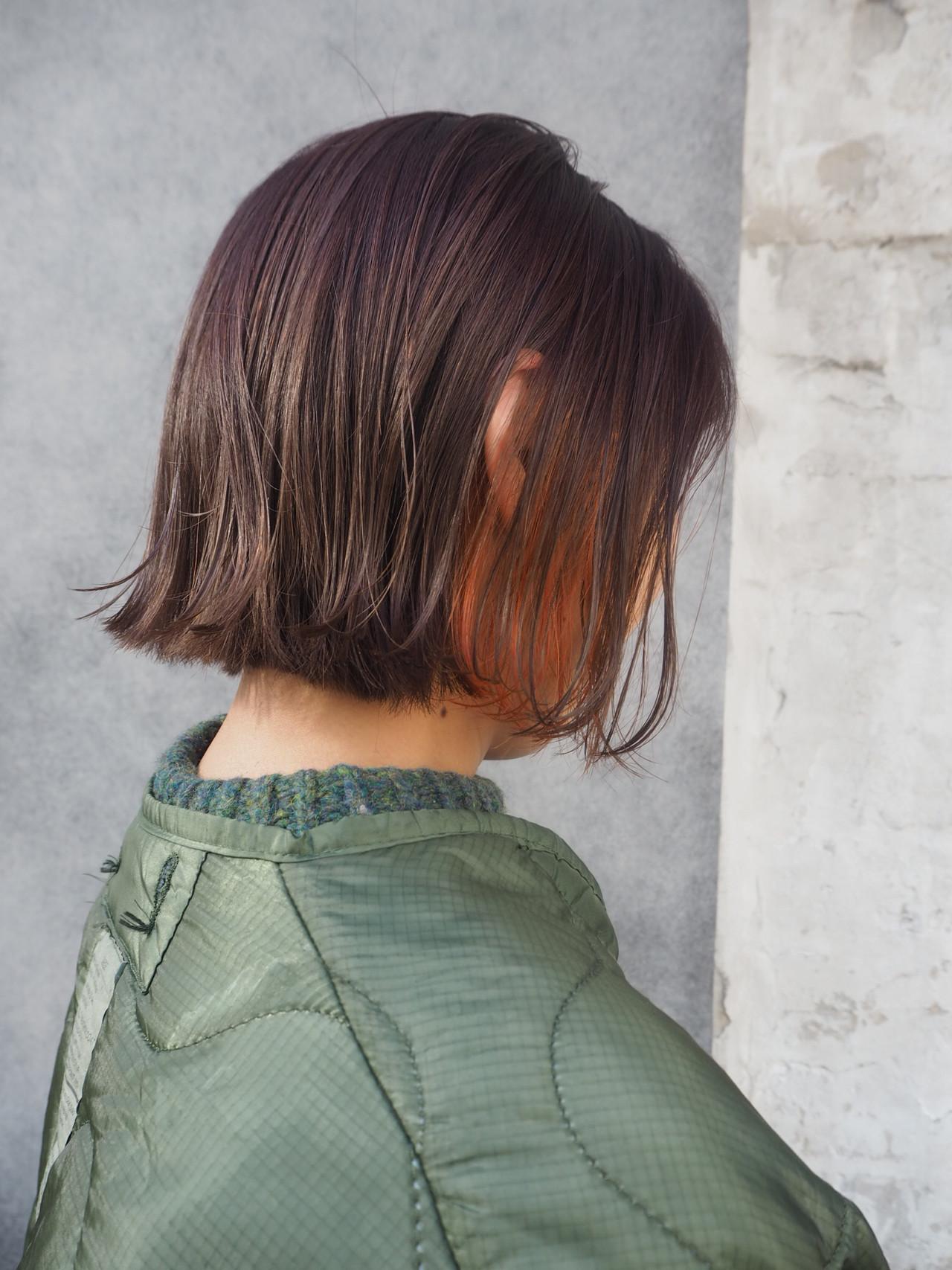 ナチュラル ボブ 切りっぱなし インナーカラー ヘアスタイルや髪型の写真・画像