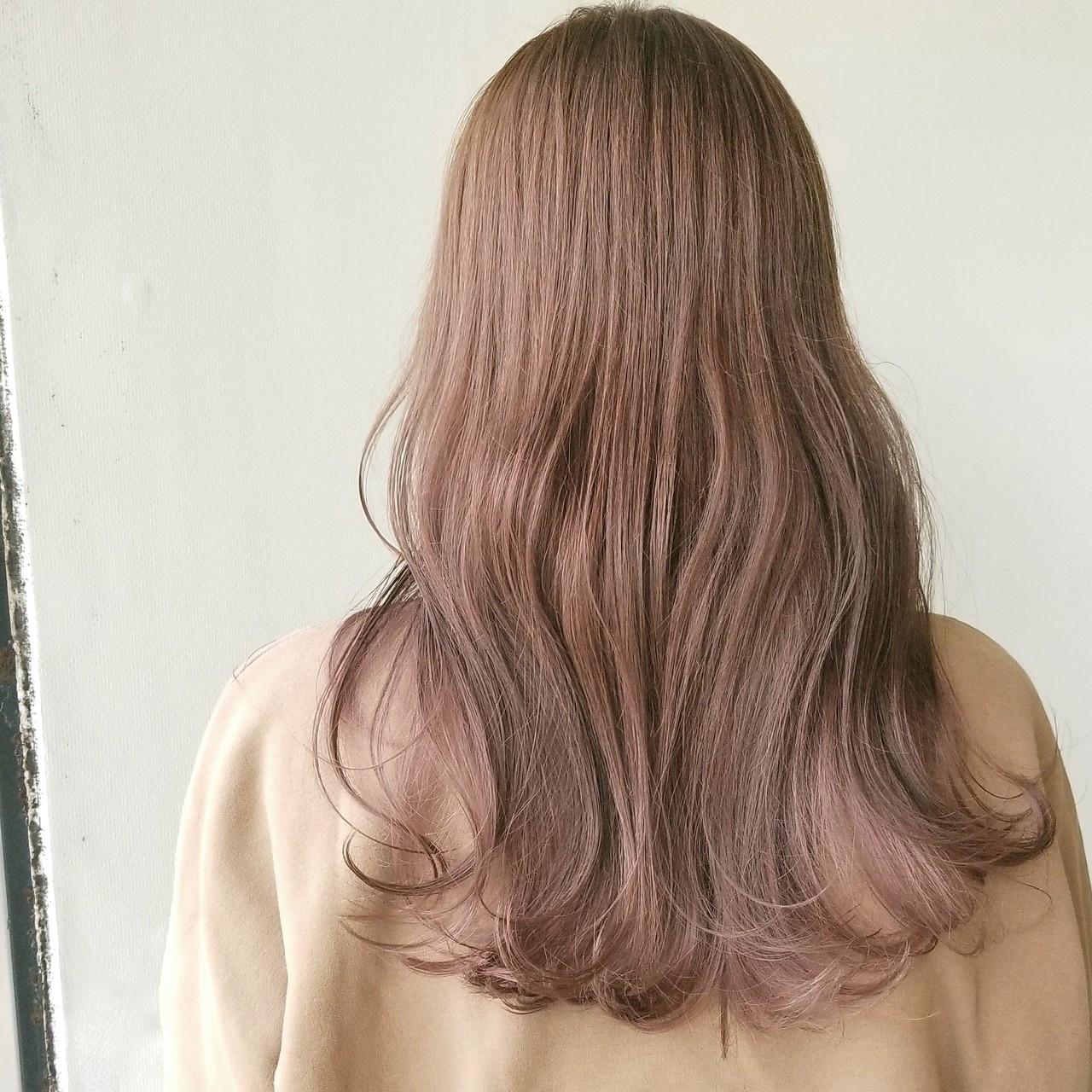 透明感カラー コーラルピンク 大人ロング ロング ヘアスタイルや髪型の写真・画像