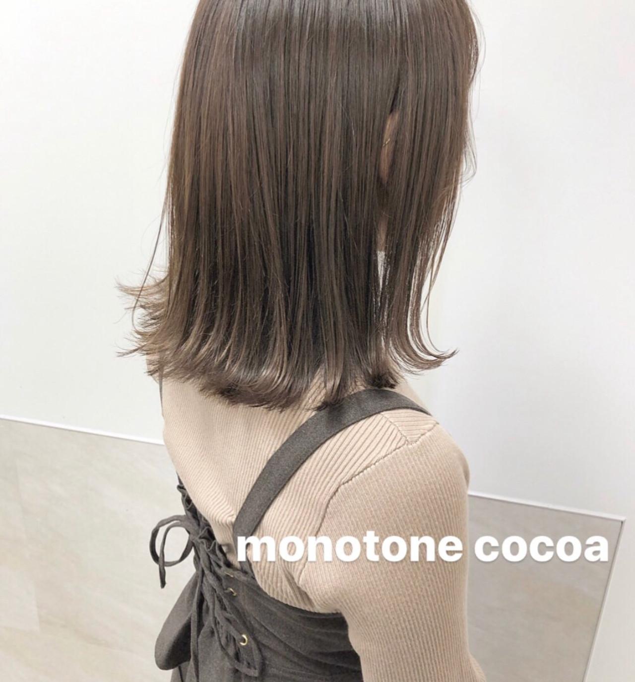 ミルクティーブラウン ミディアム ミルクティーアッシュ ミルクティーベージュ ヘアスタイルや髪型の写真・画像