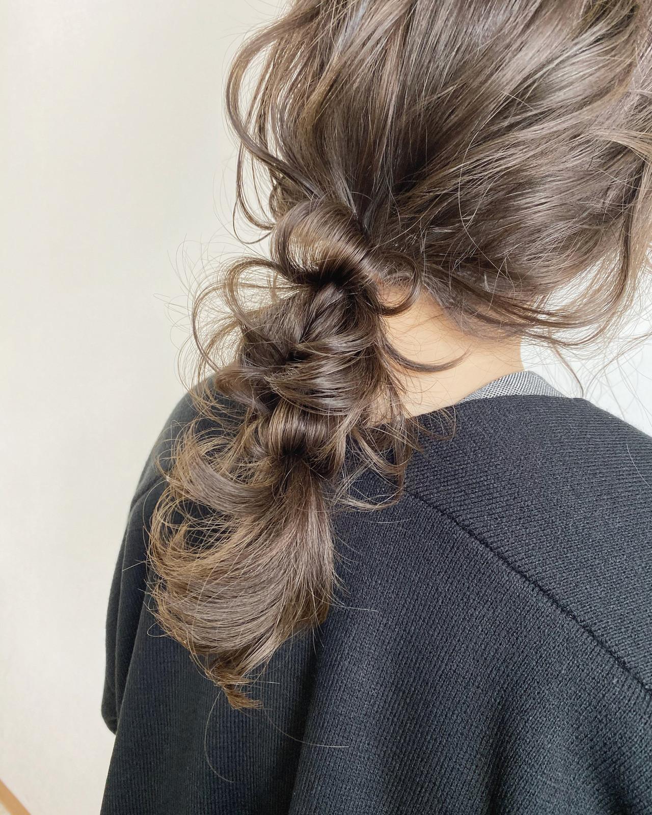 ヘアアレンジ セルフヘアアレンジ 外国人風カラー セミロング ヘアスタイルや髪型の写真・画像