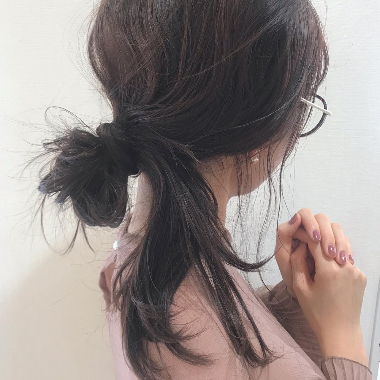 セミロング お団子ヘア ヘアアレンジ 簡単ヘアアレンジ ヘアスタイルや髪型の写真・画像