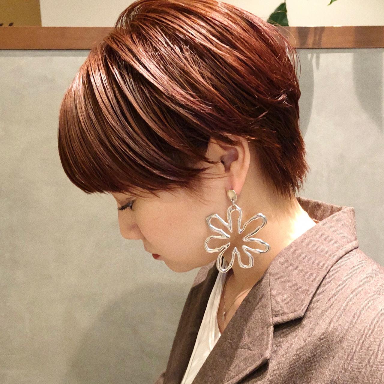 アプリコットオレンジ ベリーショート ショート ガーリー ヘアスタイルや髪型の写真・画像