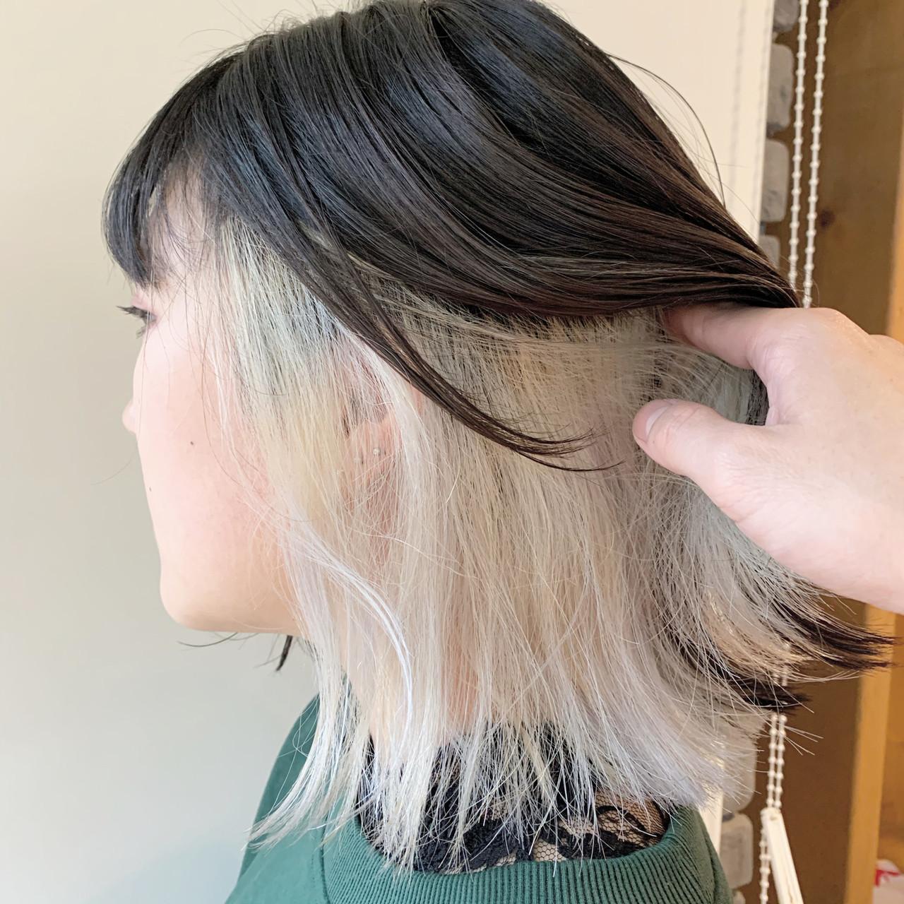 切りっぱなしボブ ストリート ボブ インナーカラー ヘアスタイルや髪型の写真・画像