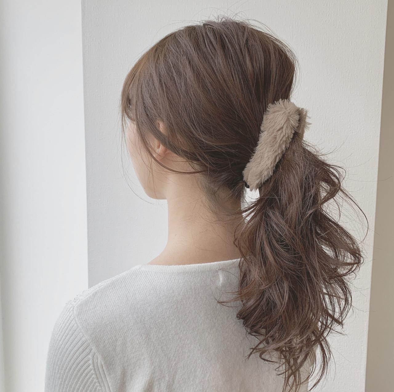フェミニン 簡単ヘアアレンジ セミロング モテ髪 ヘアスタイルや髪型の写真・画像
