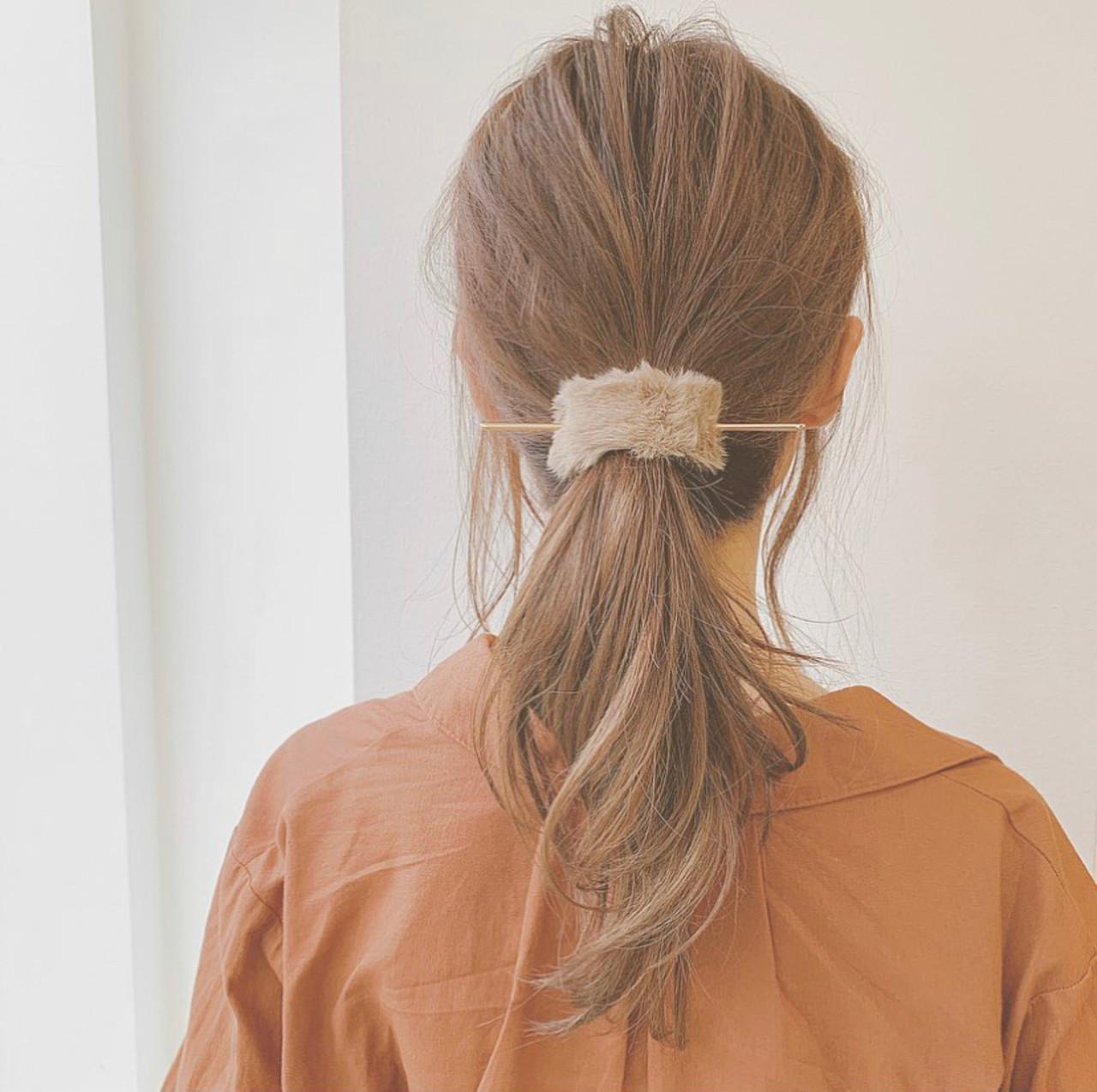 セミロング セルフヘアアレンジ ポニーテールアレンジ ヘアアレンジ ヘアスタイルや髪型の写真・画像