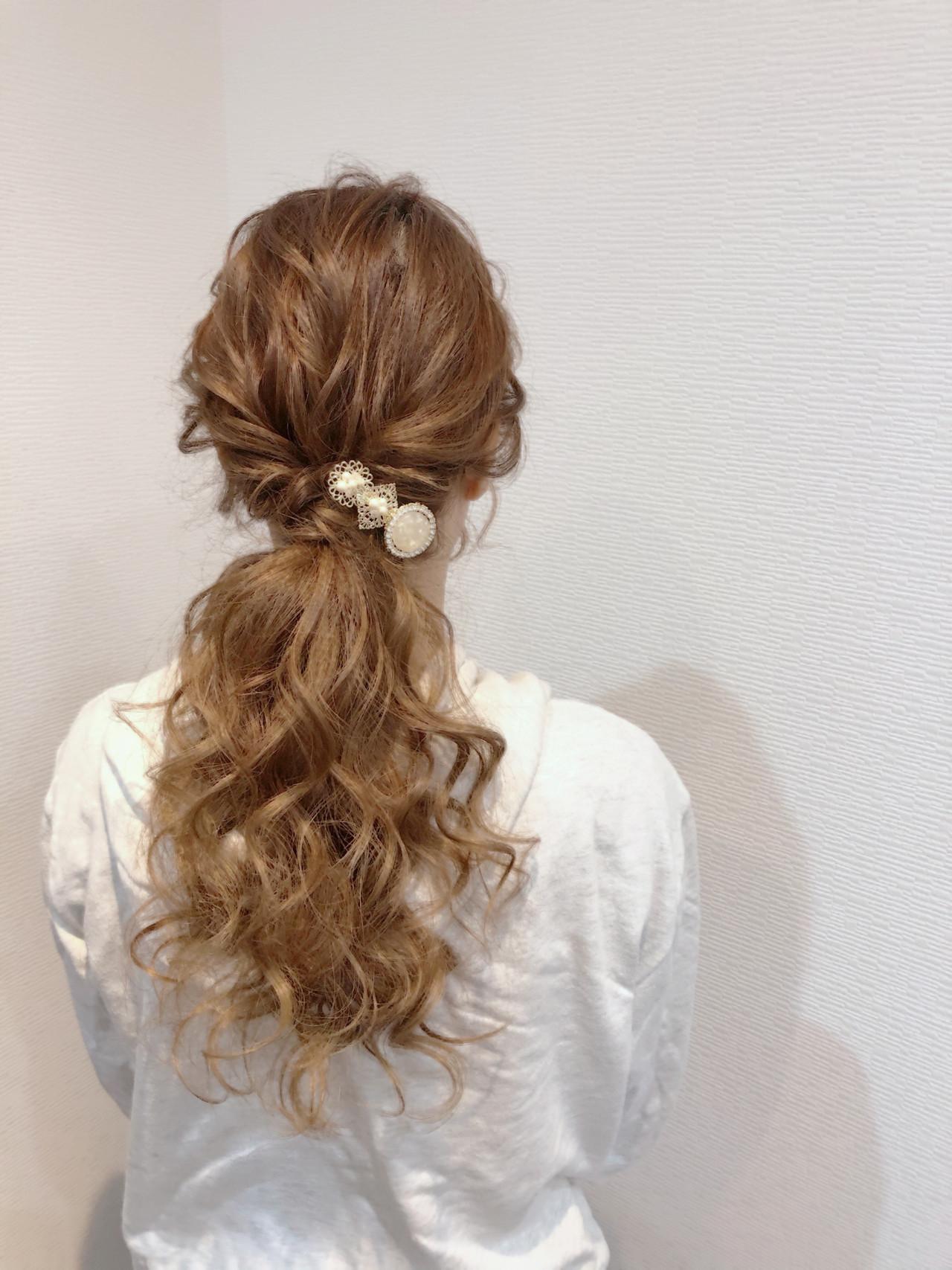 ポニーテール フェミニン ポニーテールアレンジ ヘアセット ヘアスタイルや髪型の写真・画像