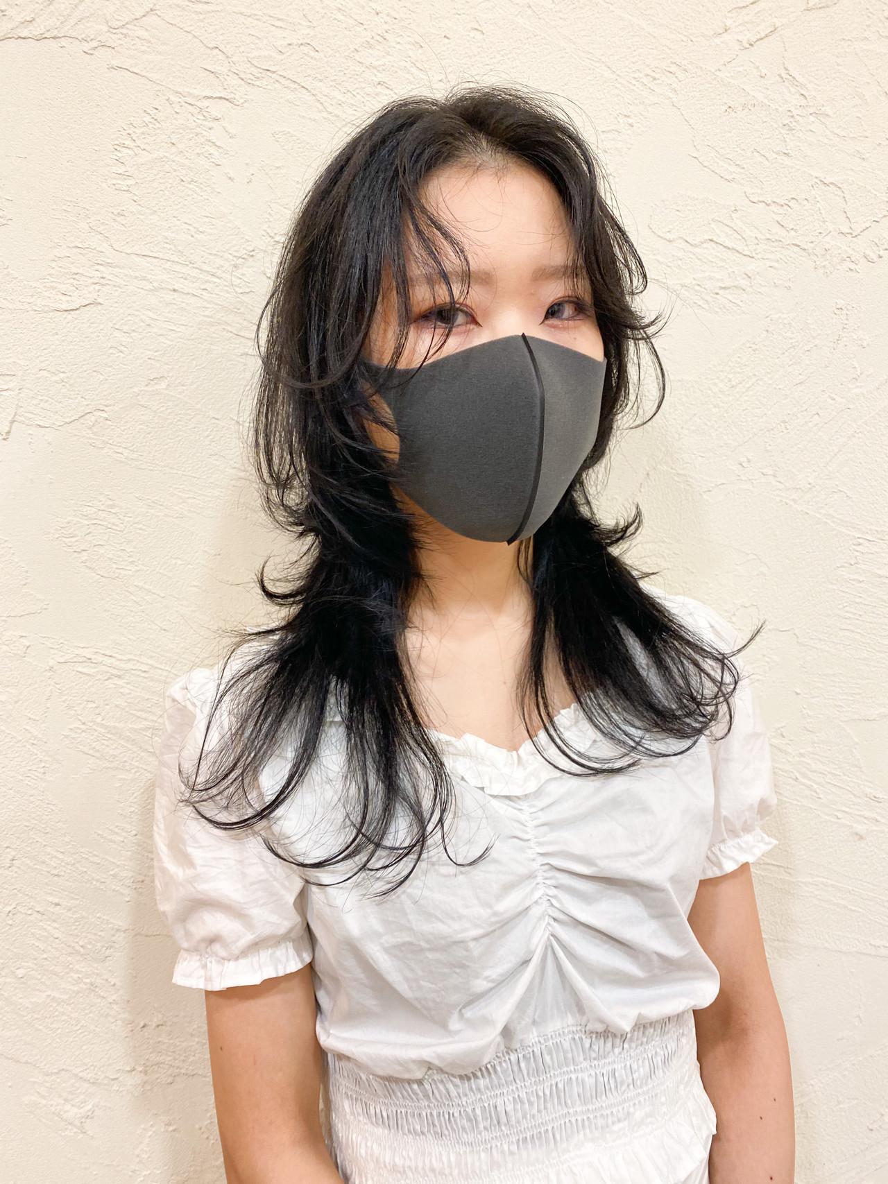 ウルフ女子 ロング モード マッシュウルフ ヘアスタイルや髪型の写真・画像
