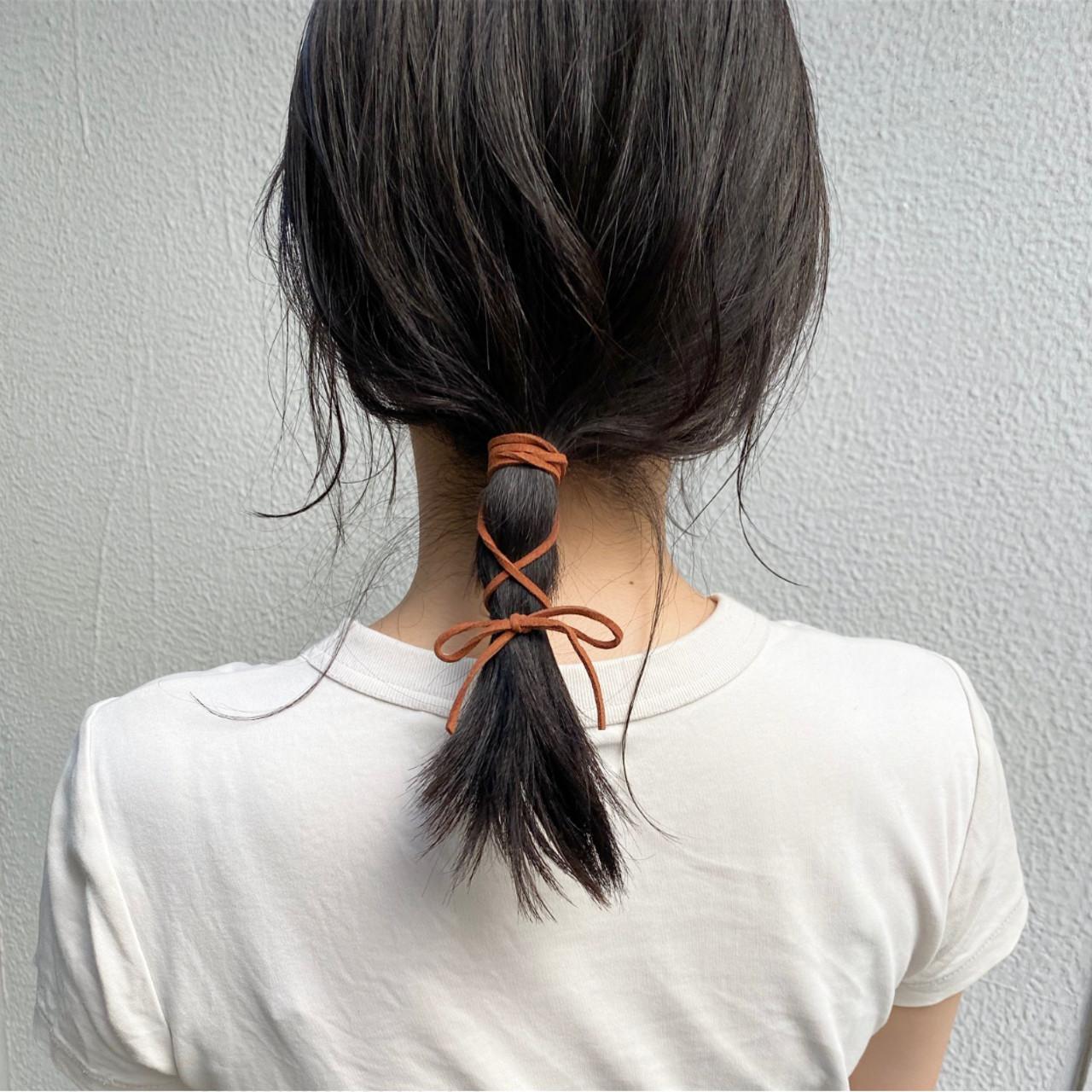 ナチュラル ヘアアレンジ ルーズヘア 紐アレンジ ヘアスタイルや髪型の写真・画像