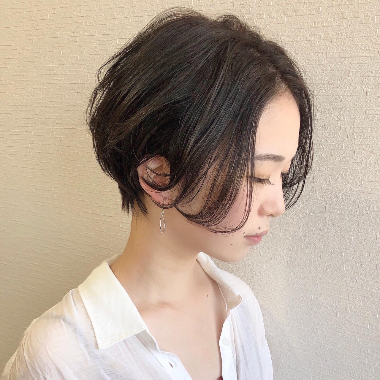 ナチュラル 黒髪ショート ショート ハンサムショート ヘアスタイルや髪型の写真・画像