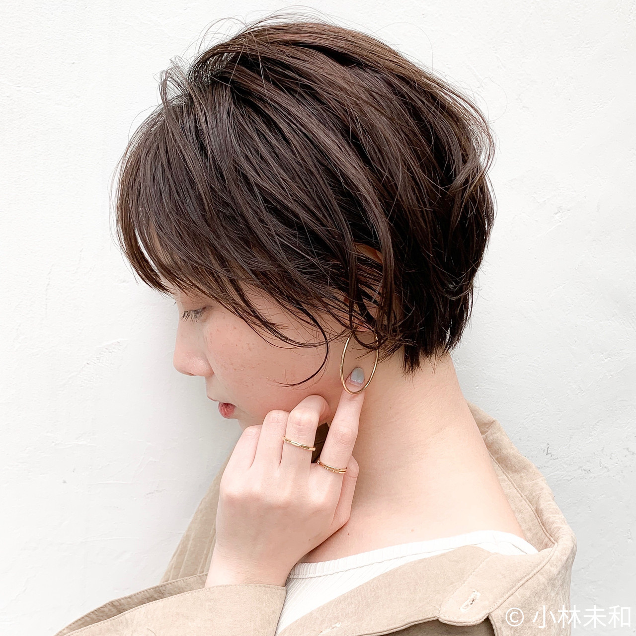 外国人風カラー ココアブラウン 簡単スタイリング ショートヘア ヘアスタイルや髪型の写真・画像