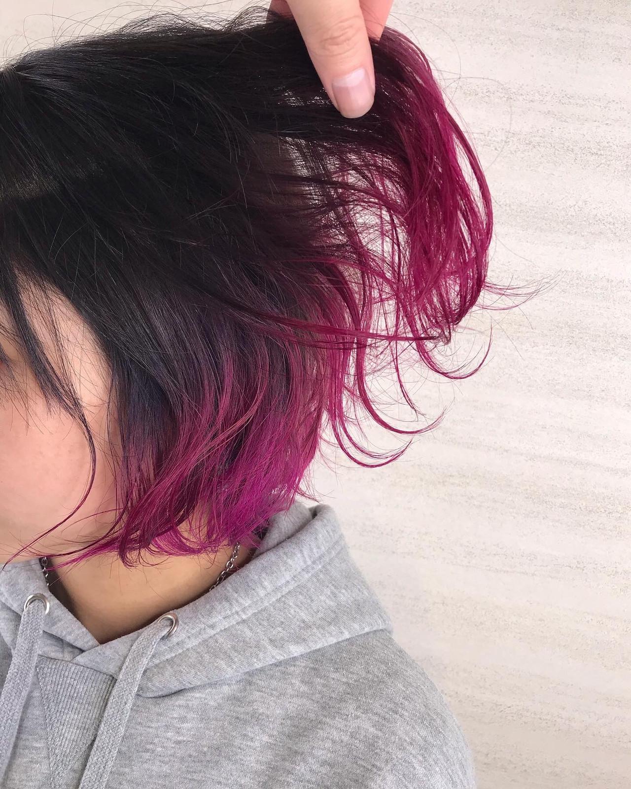 裾カラー モード ボブ 切りっぱなしボブ ヘアスタイルや髪型の写真・画像