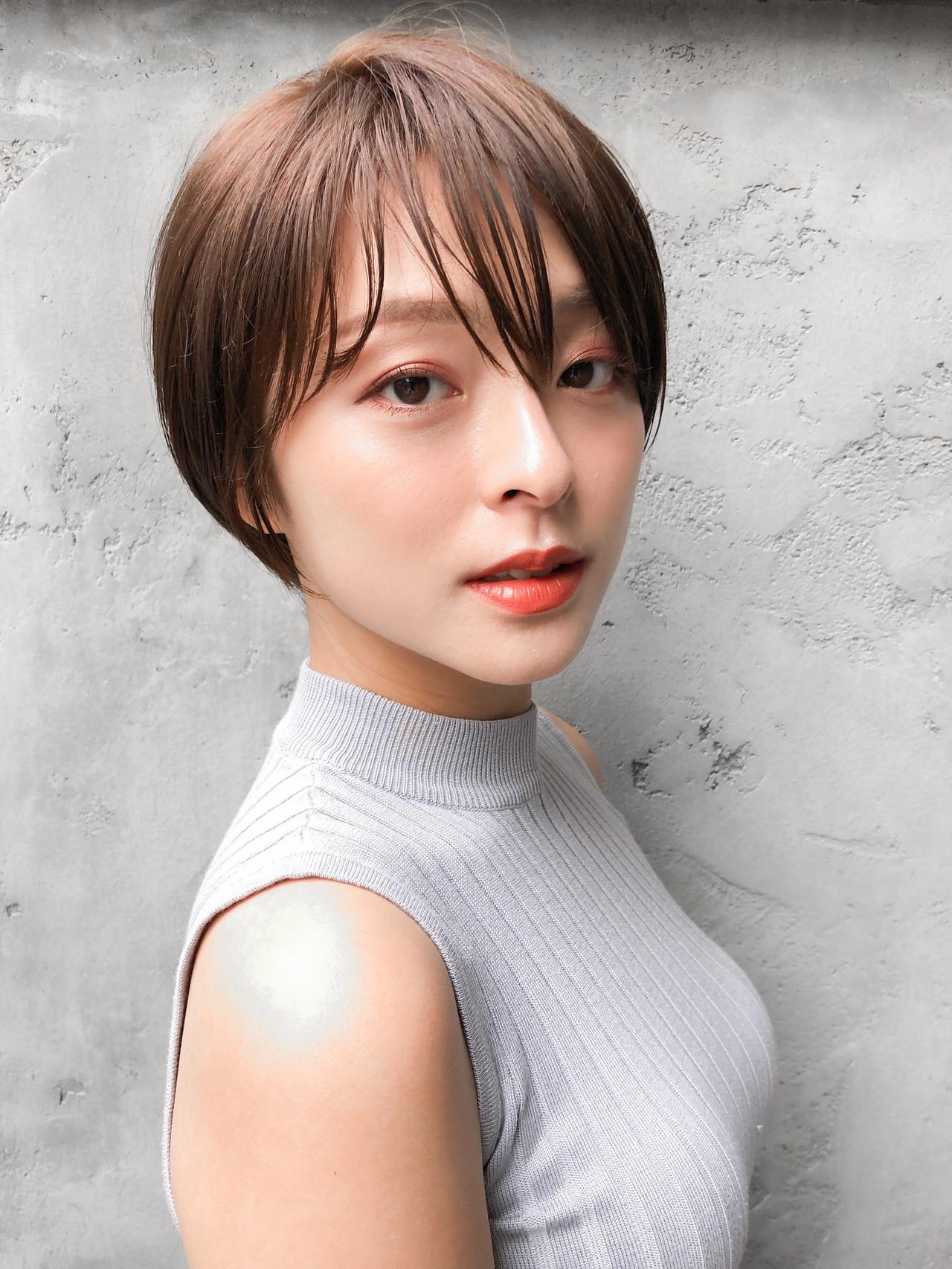 ショート 透明感カラー ナチュラル ショートボブ ヘアスタイルや髪型の写真・画像
