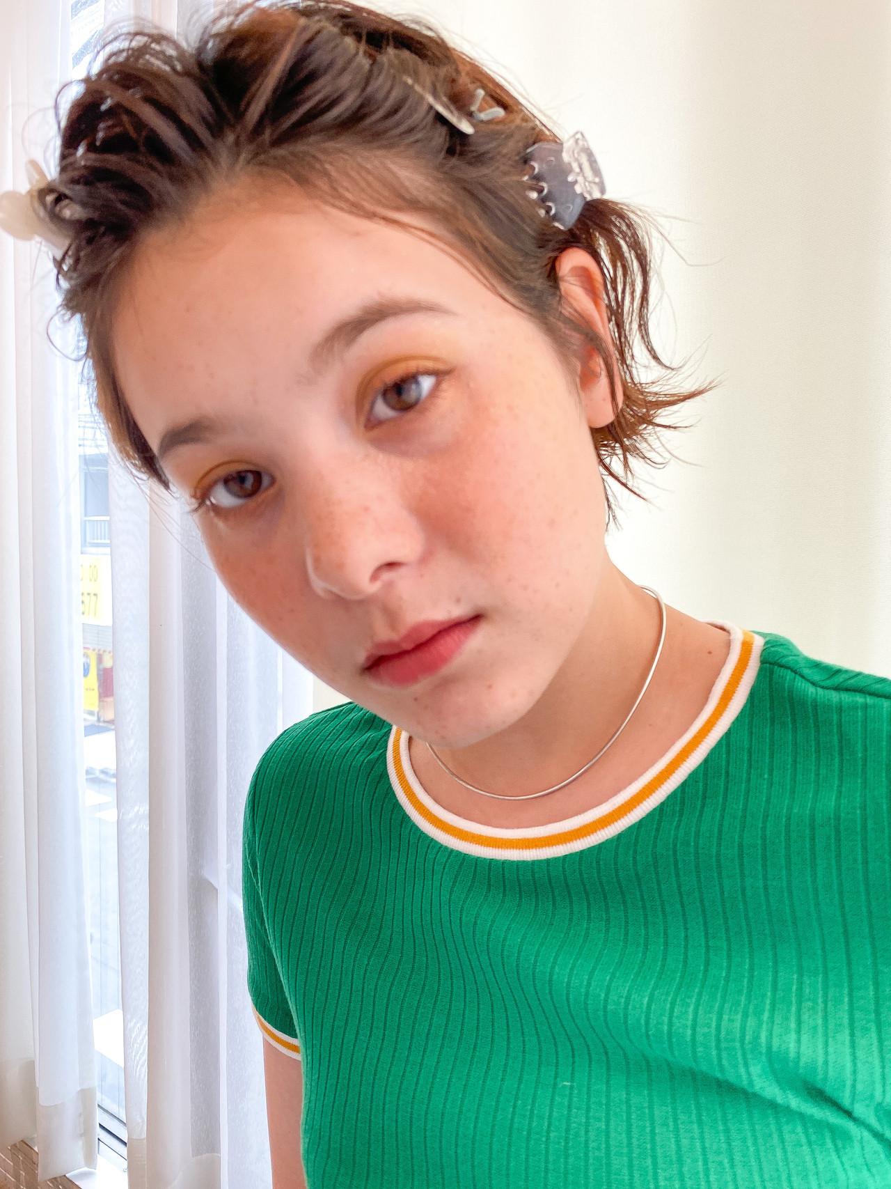 前髪 ヘアアレンジ ヘアピン 透明感 ヘアスタイルや髪型の写真・画像