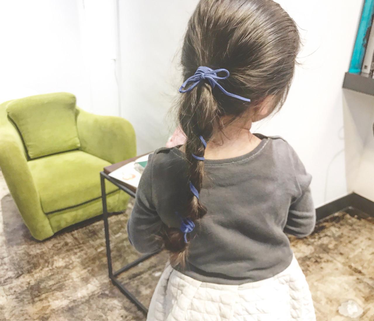 簡単ヘアアレンジ 子供 ロング 編み込み ヘアスタイルや髪型の写真・画像