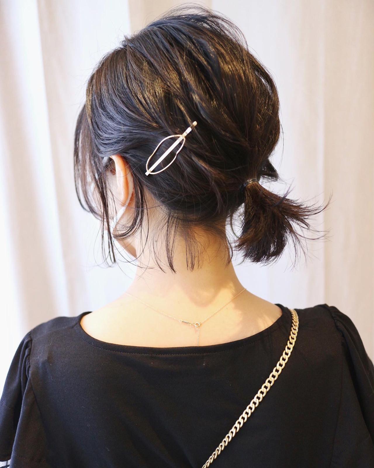 黒髪 ボブ セルフヘアアレンジ ヘアアレンジ ヘアスタイルや髪型の写真・画像