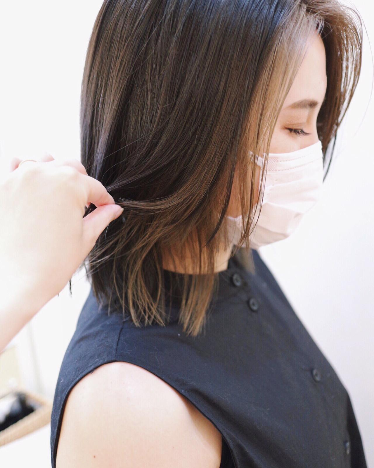 インナーカラー グラデーションカラー ミディアム 黒髪 ヘアスタイルや髪型の写真・画像