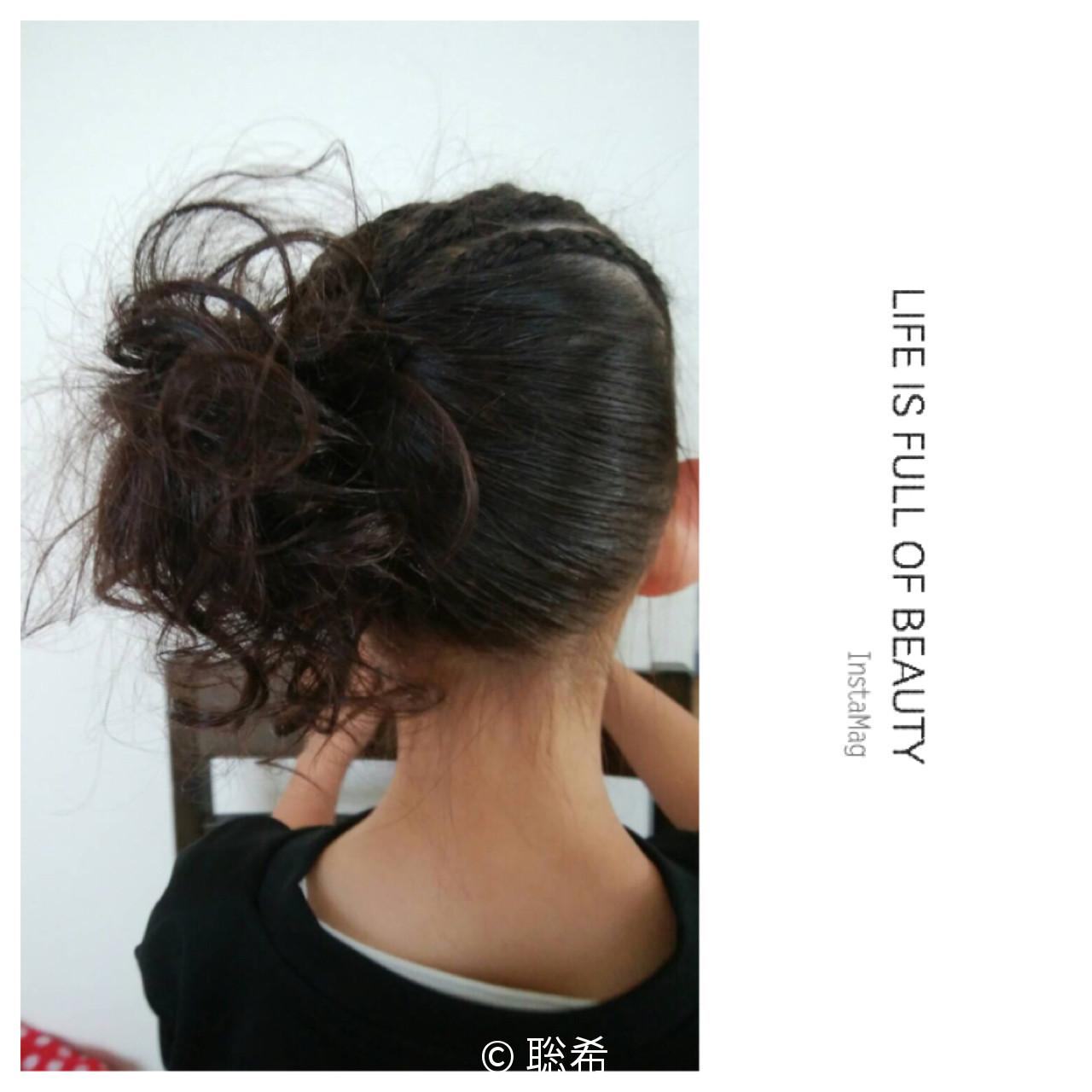 子供 ヘアアレンジ ミディアム ストリート ヘアスタイルや髪型の写真・画像