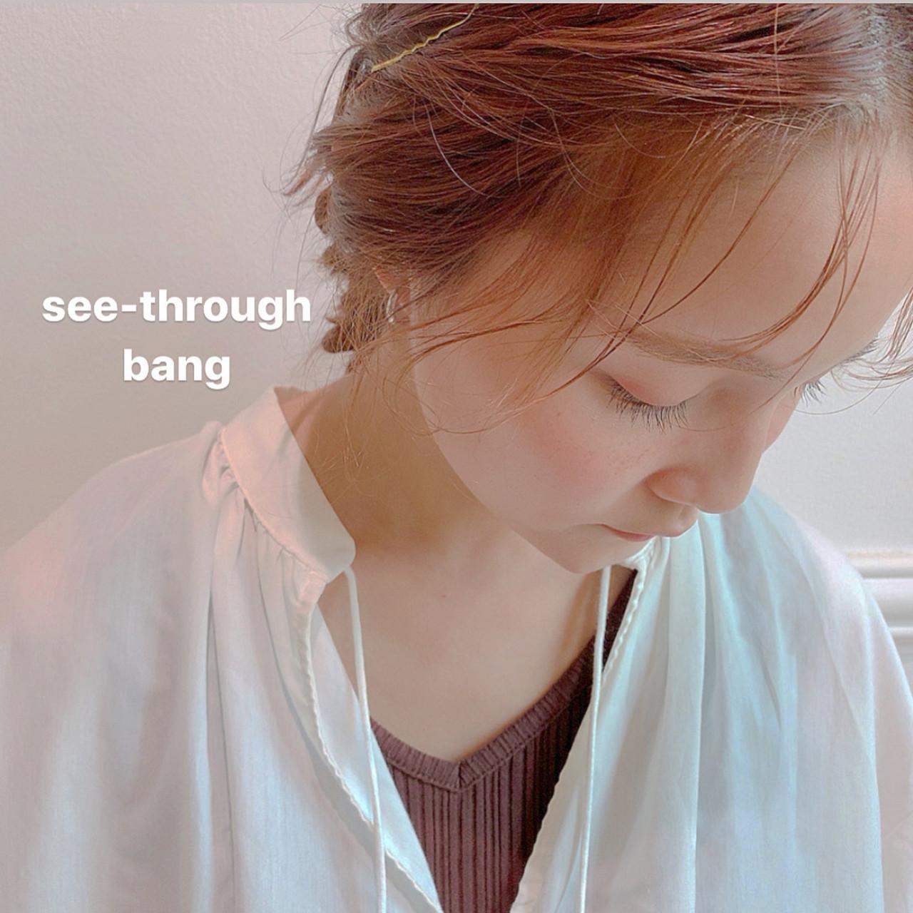 ミルクティーベージュ シースルーバング ガーリー 簡単ヘアアレンジ ヘアスタイルや髪型の写真・画像