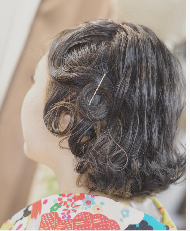 ボブ 3Dハイライト ショートヘアアレンジ フィンガーウェーブ ヘアスタイルや髪型の写真・画像