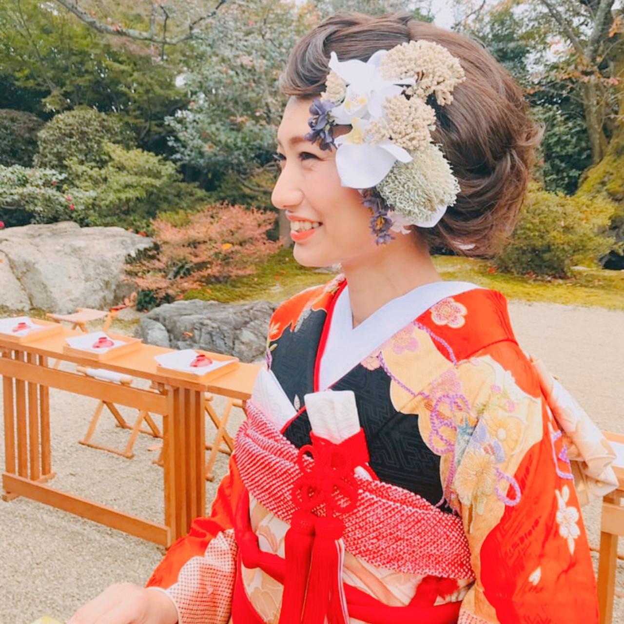 ヘアアレンジ 結婚式髪型 結婚式ヘアアレンジ フェミニン ヘアスタイルや髪型の写真・画像