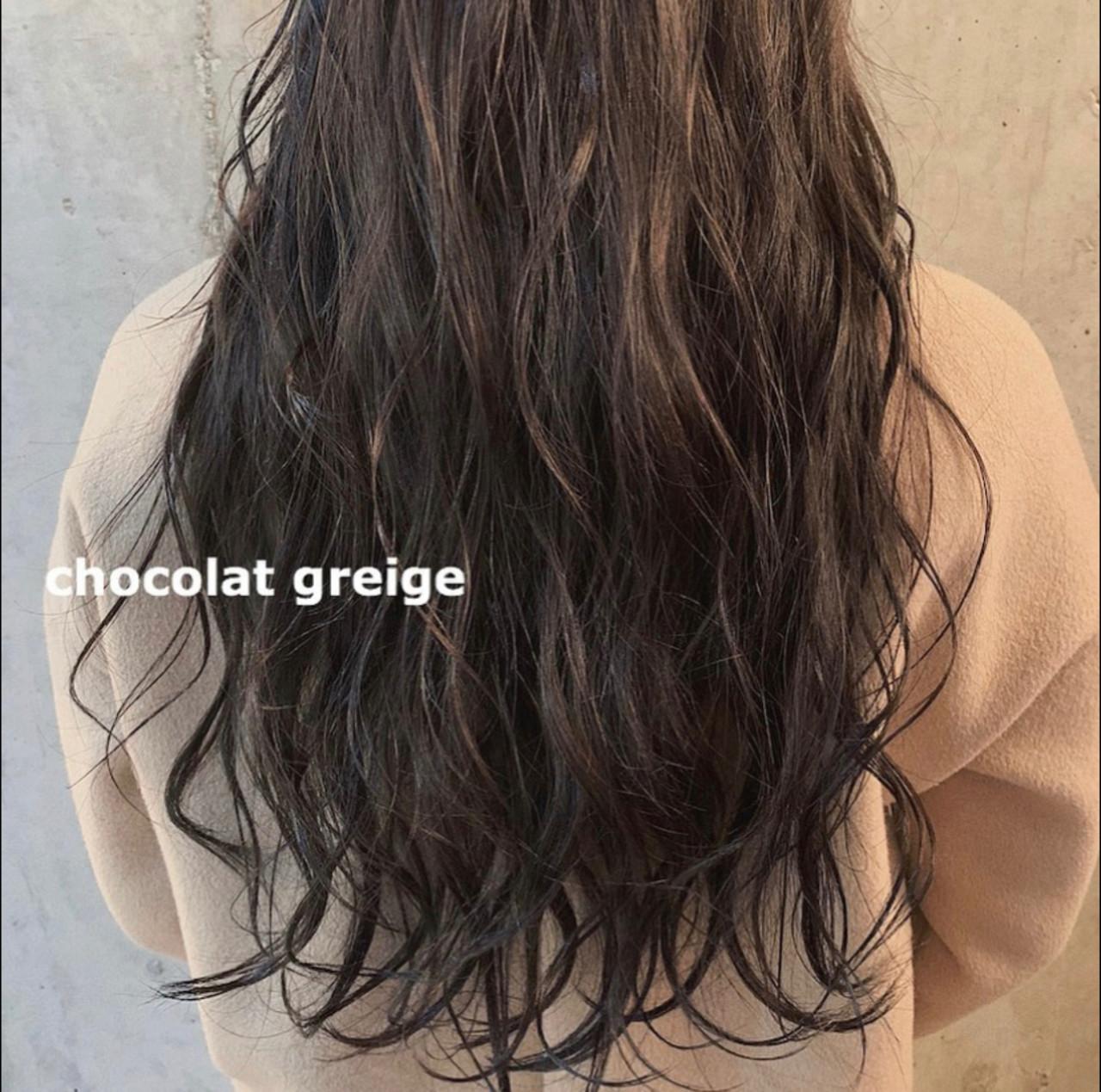 エレガント グレージュ 暗髪 ショコラブラウン ヘアスタイルや髪型の写真・画像