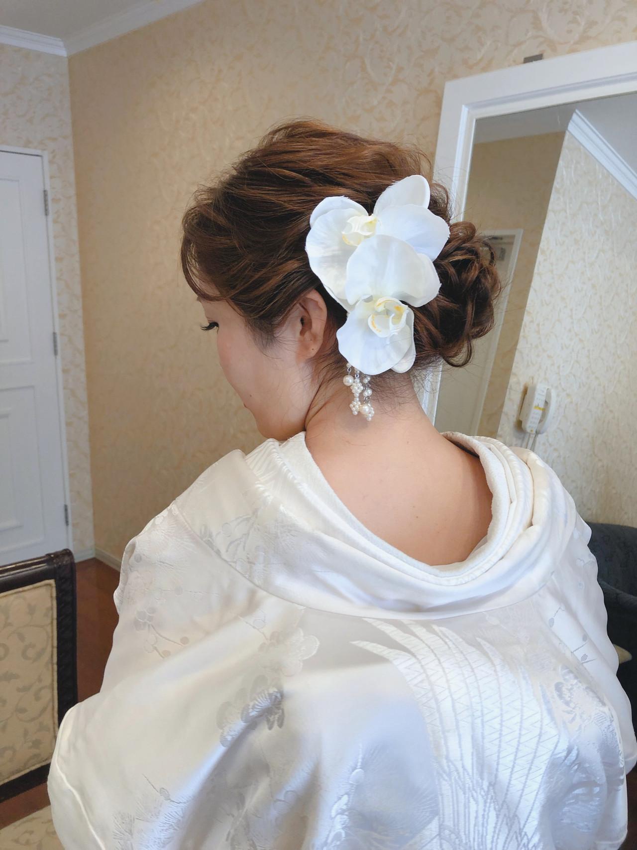 ブライダル 和装 ヘアセット フェミニン ヘアスタイルや髪型の写真・画像