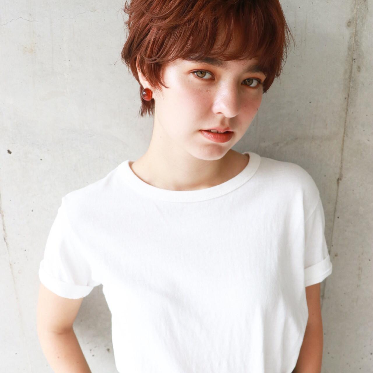 ショート アプリコットオレンジ ナチュラル カッパー ヘアスタイルや髪型の写真・画像