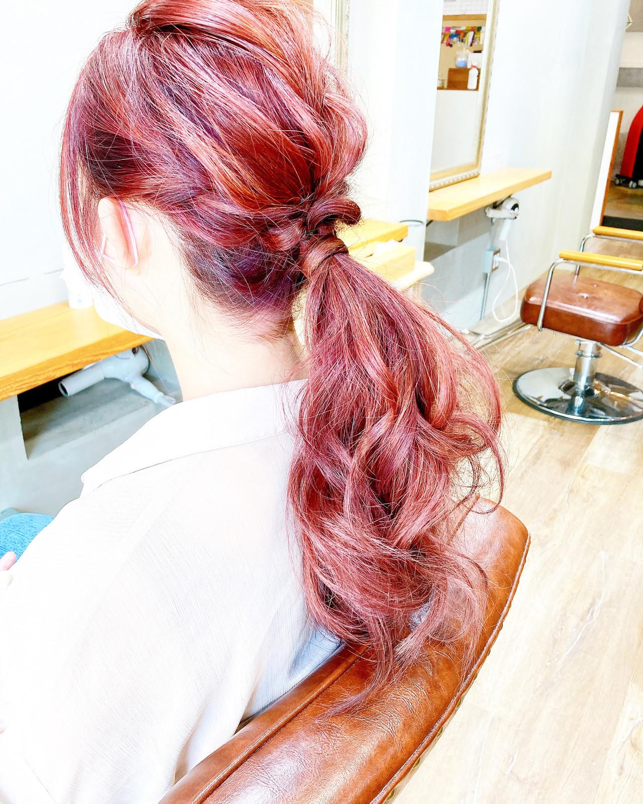 ナチュラル ラズベリーピンク セミロング オレンジベージュ ヘアスタイルや髪型の写真・画像