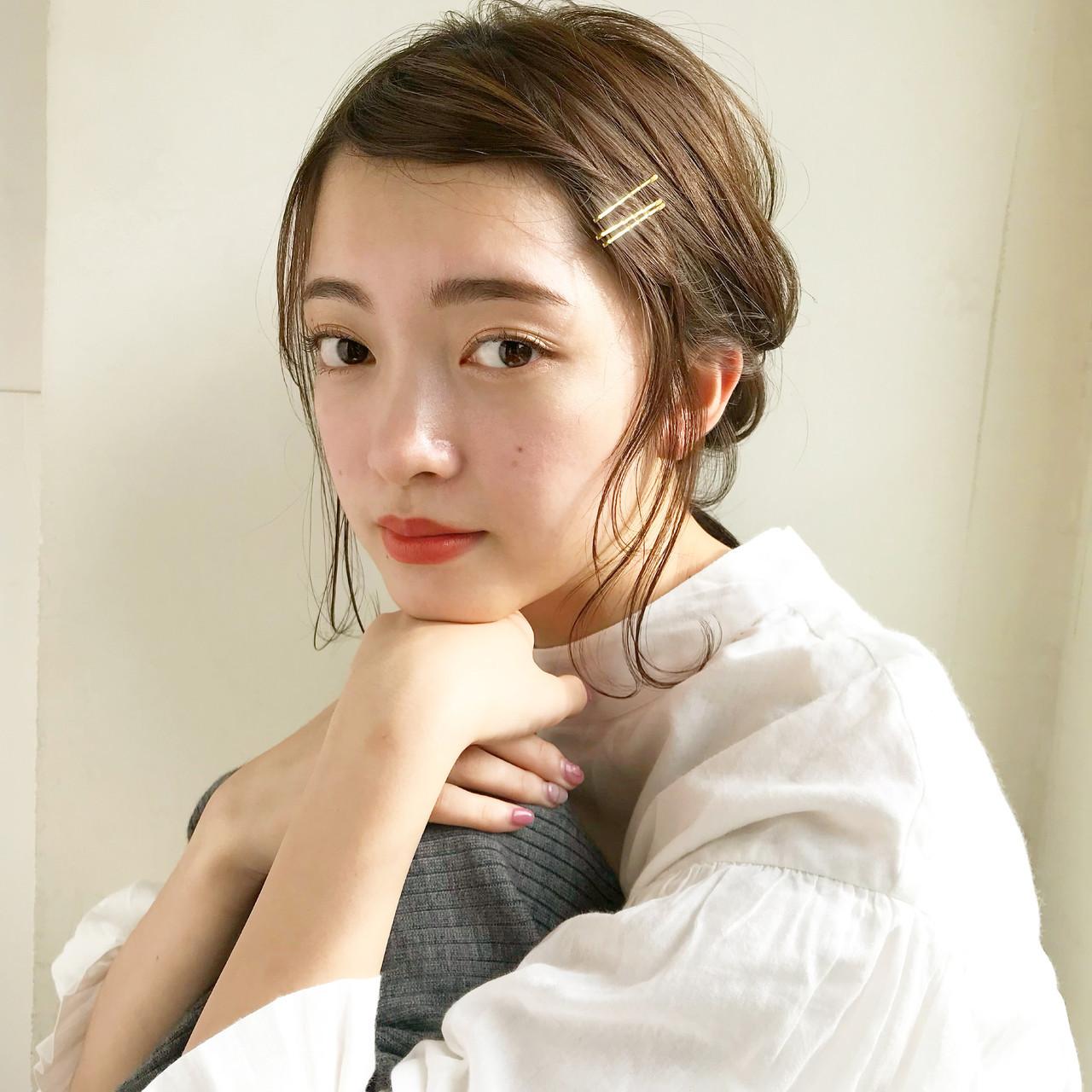 ミディアム 大人かわいい 簡単ヘアアレンジ ヘアアレンジ ヘアスタイルや髪型の写真・画像