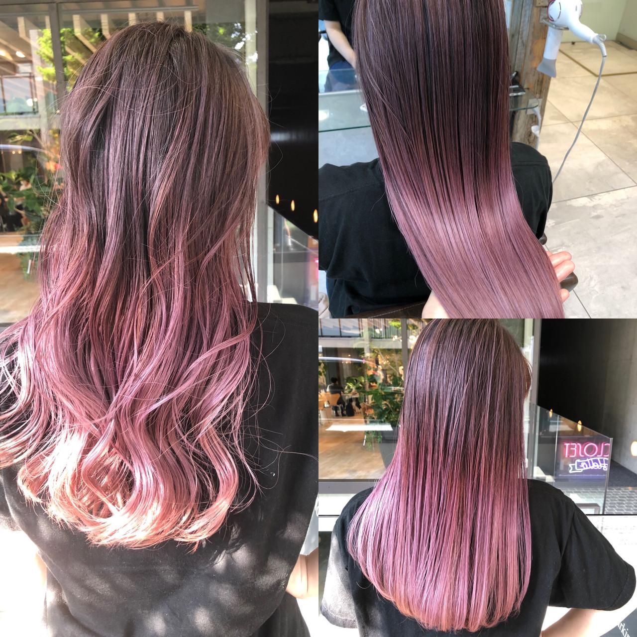 ロング ピンクアッシュ ピンクパープル ハイライト ヘアスタイルや髪型の写真・画像