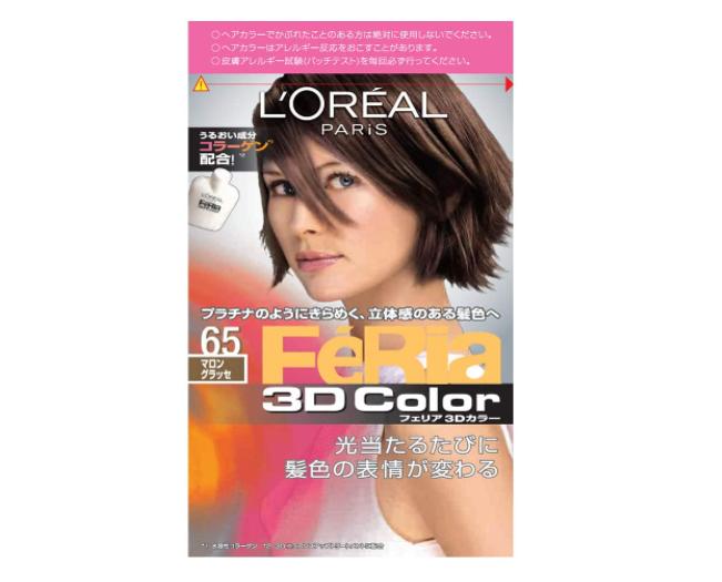 髪をやさしく染める「ロレアル パリ ヘアカラー フェリア 3Dカラー #65 マロングラッセ ダークアッシュブラウン系」