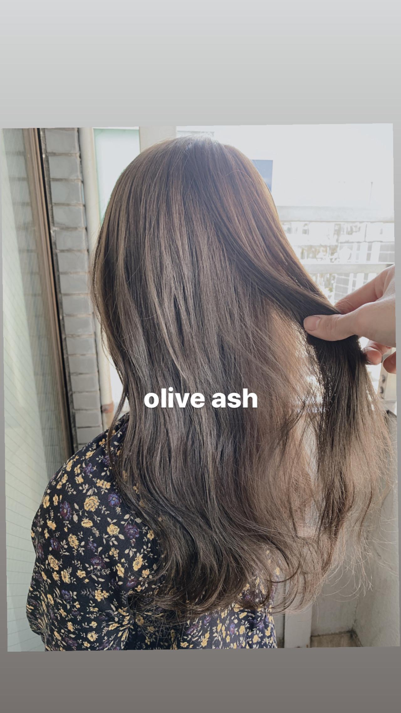 セミロング 外国人風カラー ナチュラル オリーブアッシュ ヘアスタイルや髪型の写真・画像