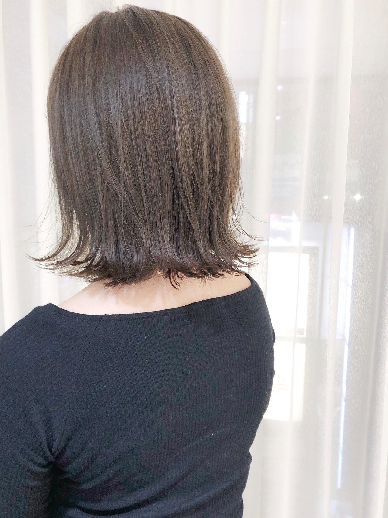 透明感カラー ボブ オリーブアッシュ オリーブグレージュ ヘアスタイルや髪型の写真・画像