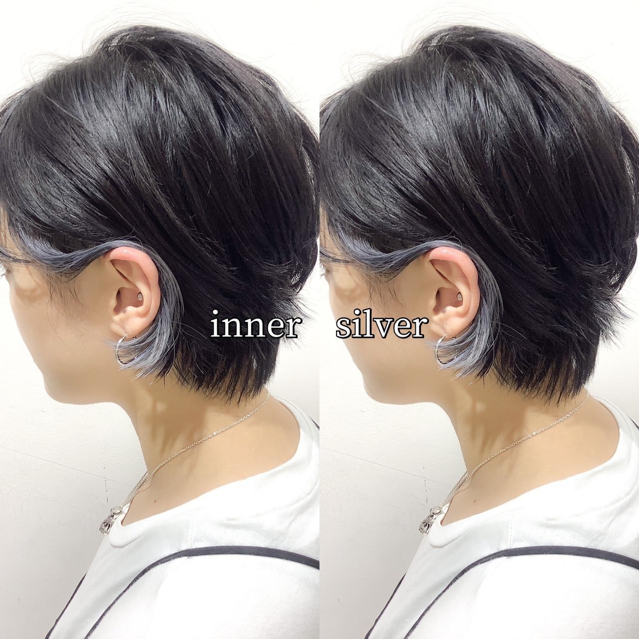 ヘアカラー シルバー シルバーグレー インナーカラーシルバー ヘアスタイルや髪型の写真・画像