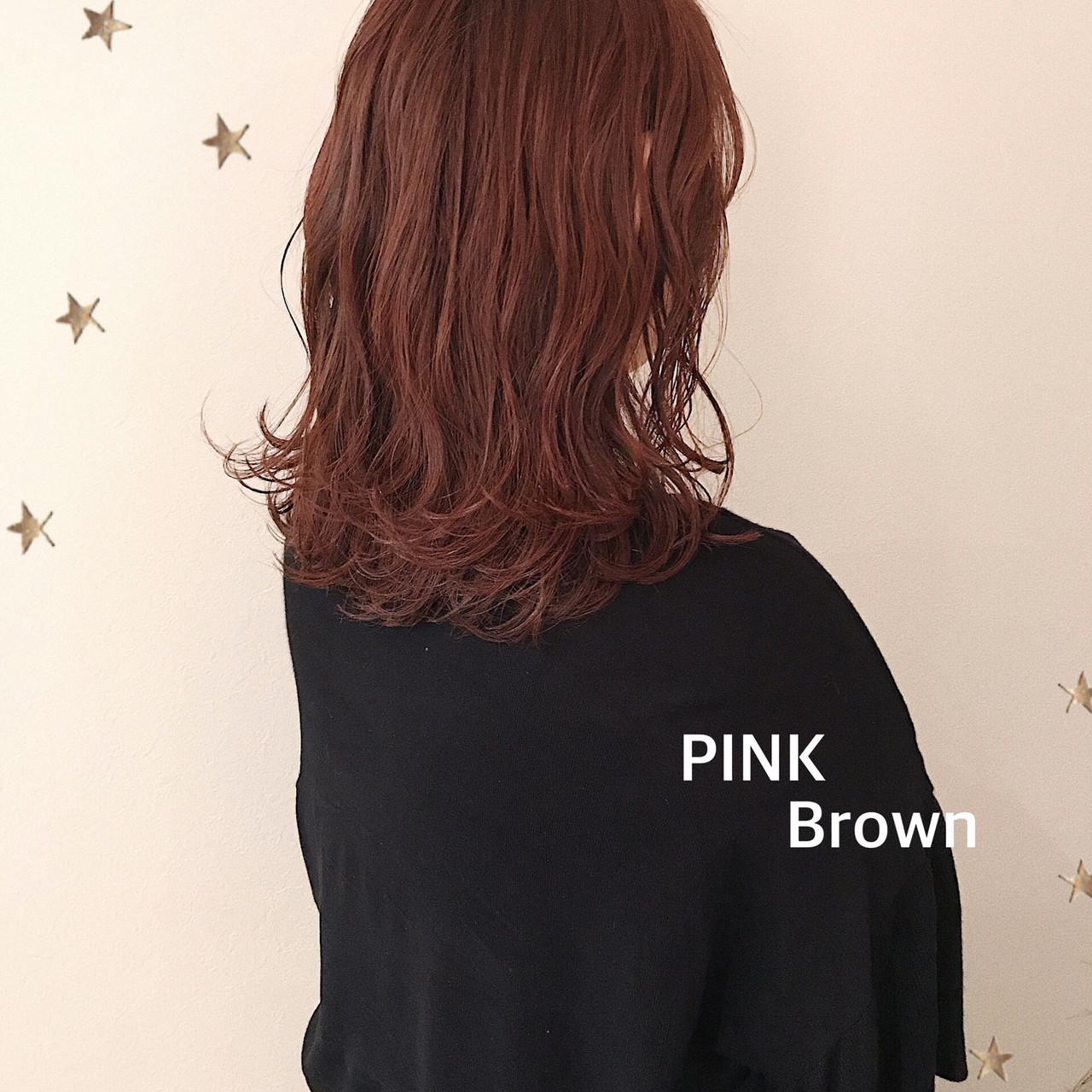 大人かわいい 大人可愛い ミディアム ピンクブラウン ヘアスタイルや髪型の写真・画像