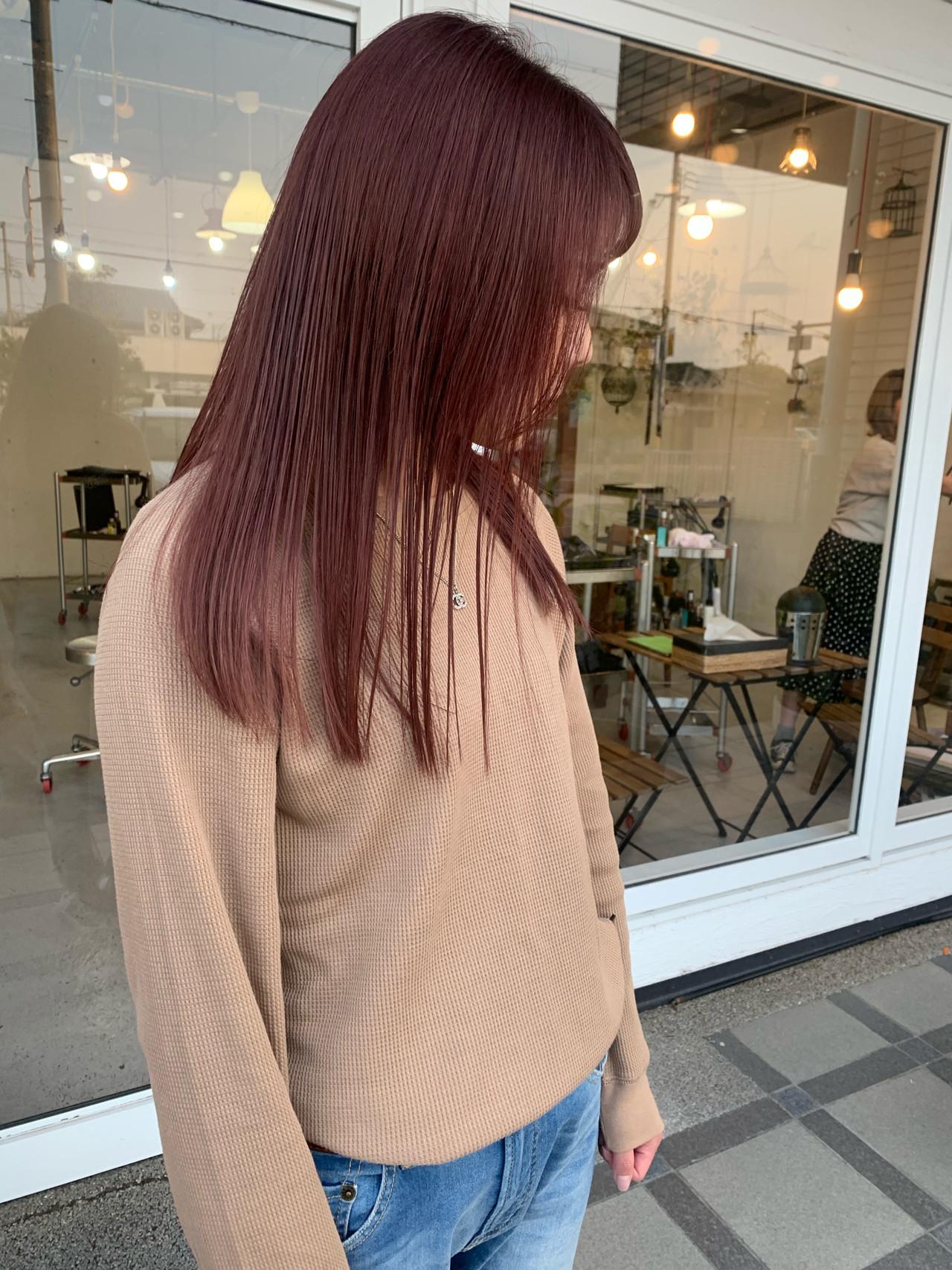 ストリート ベリーピンク ダブルカラー ピンクパープル ヘアスタイルや髪型の写真・画像