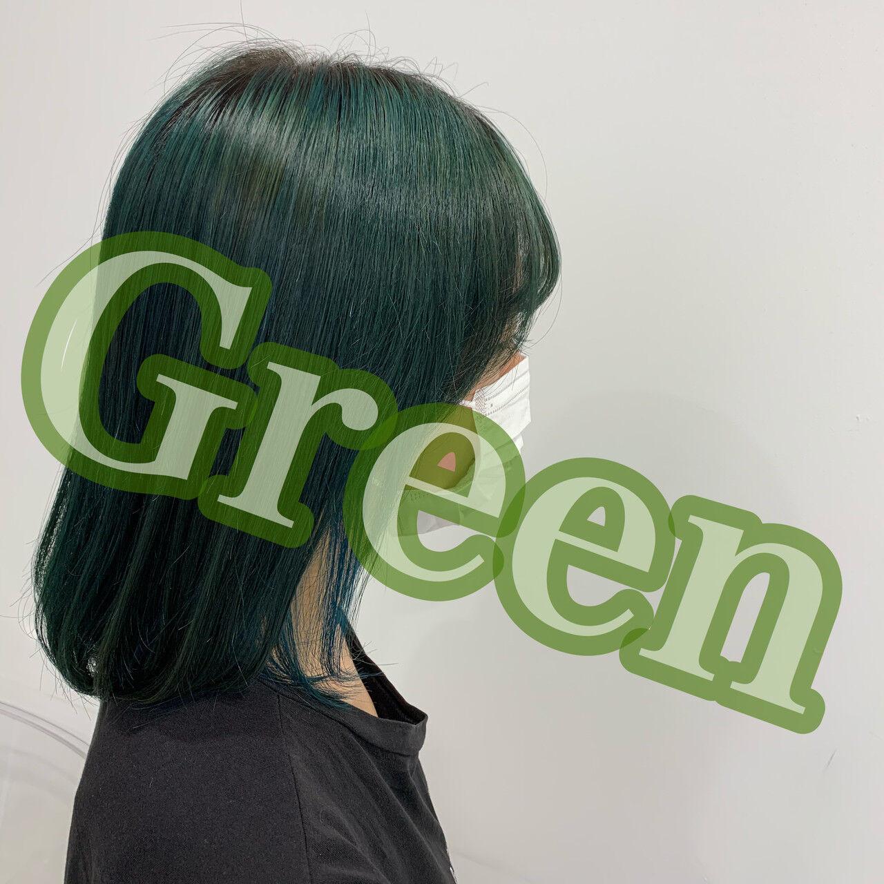 グリーン ストリート インナーグリーン オリーブ ヘアスタイルや髪型の写真・画像
