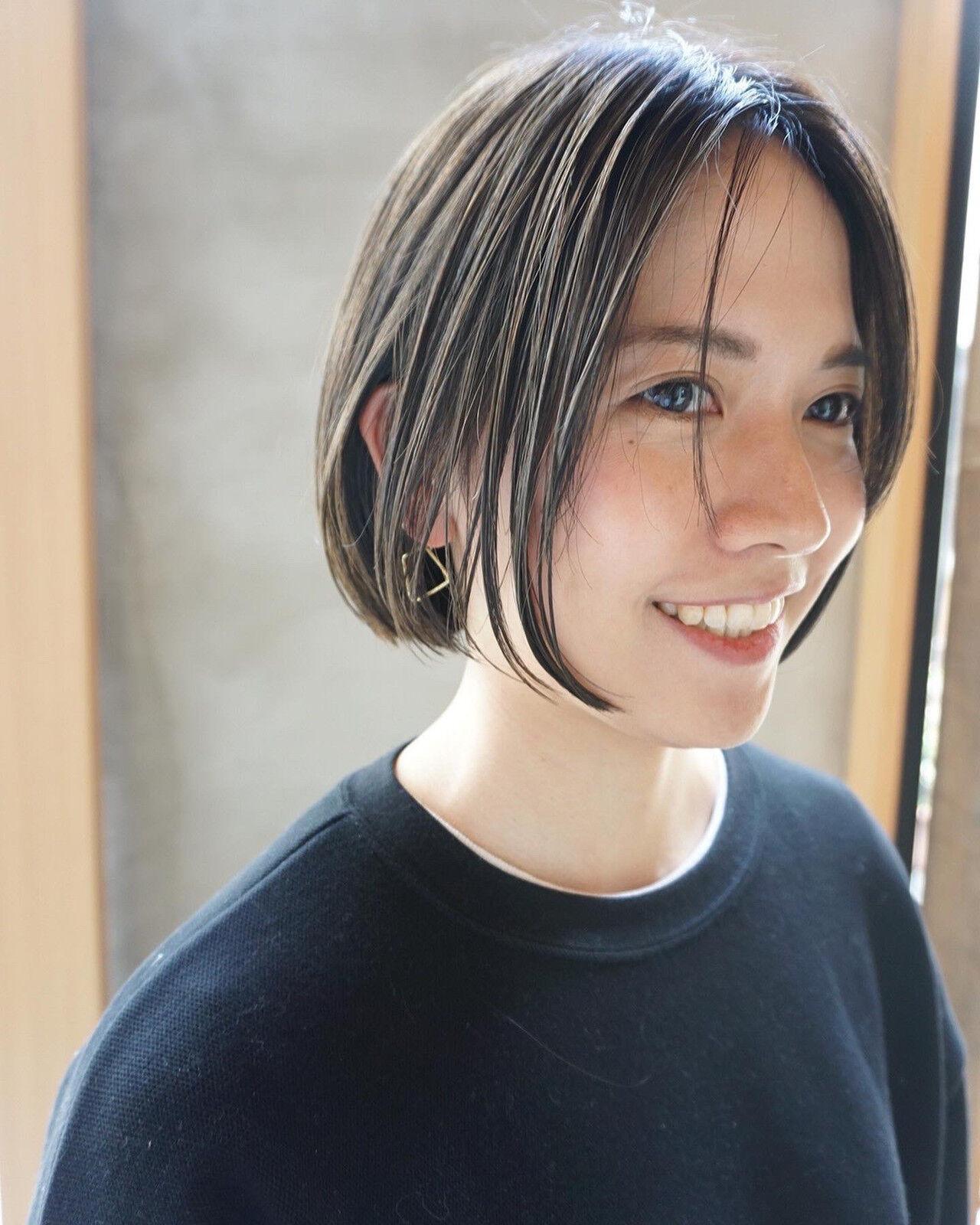 透明感カラー 暗髪 ショート ショートヘア ヘアスタイルや髪型の写真・画像