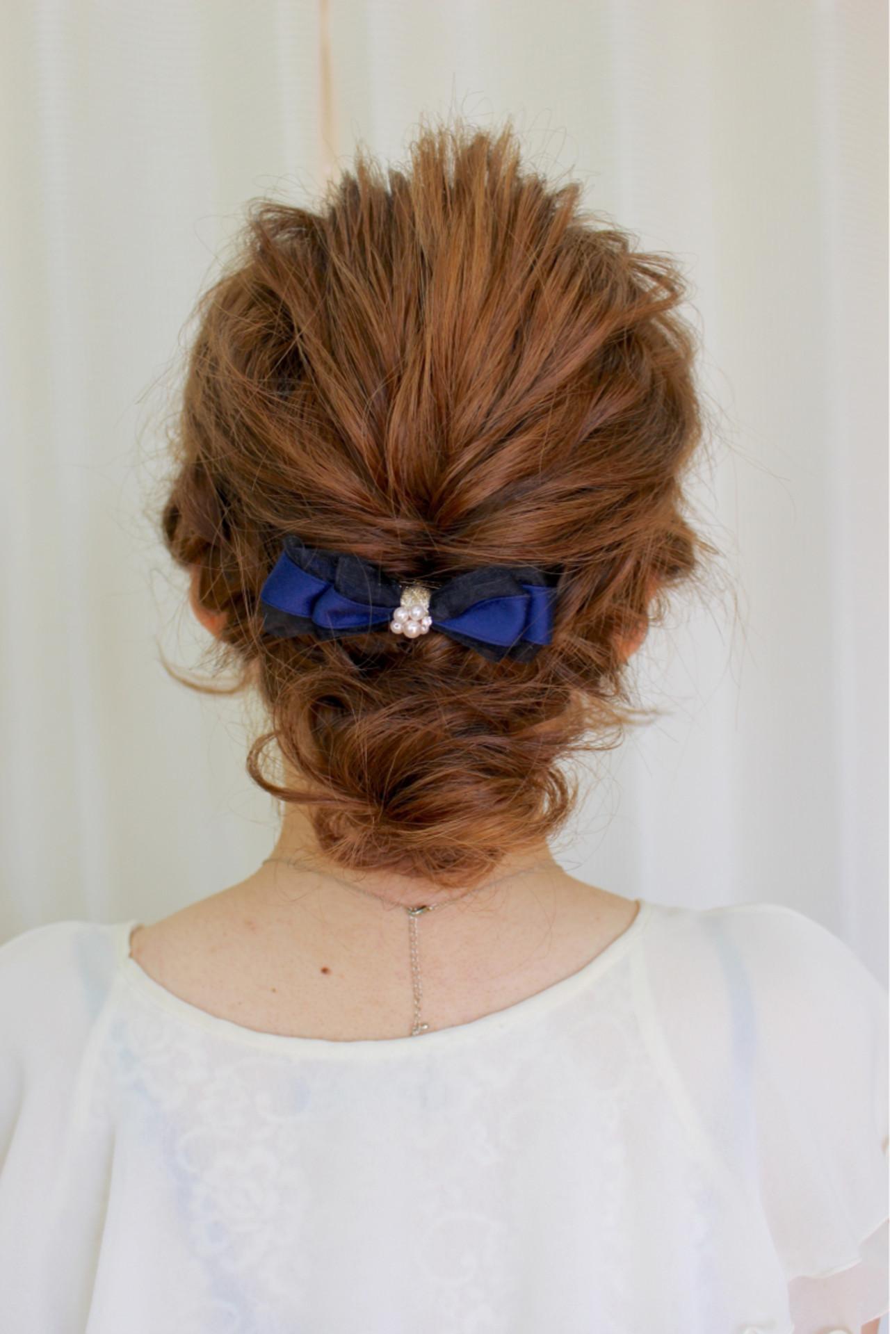 パーティ ミディアム ヘアアレンジ ナチュラル ヘアスタイルや髪型の写真・画像