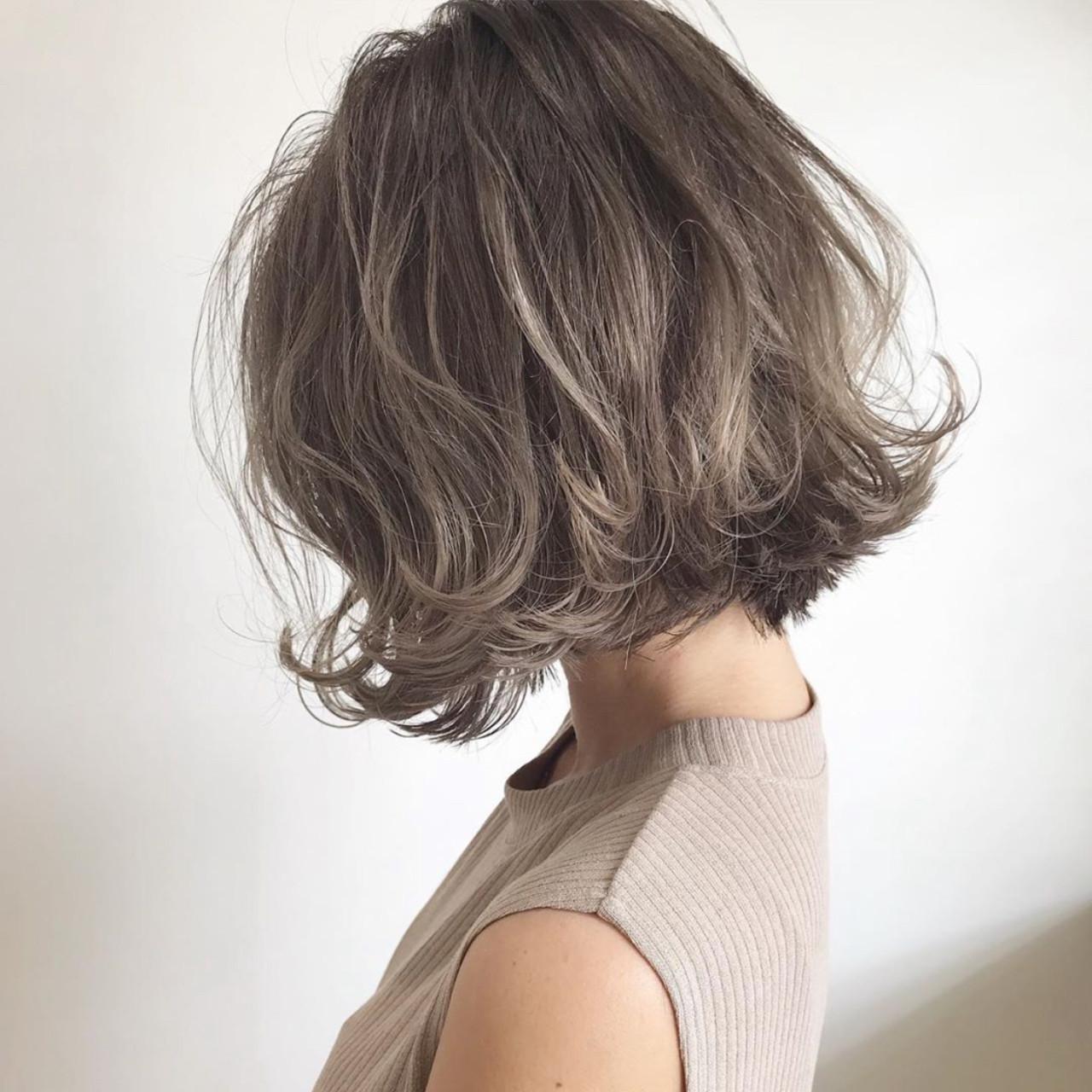 エレガント ボブ ヘアカラー 外国人風カラー ヘアスタイルや髪型の写真・画像