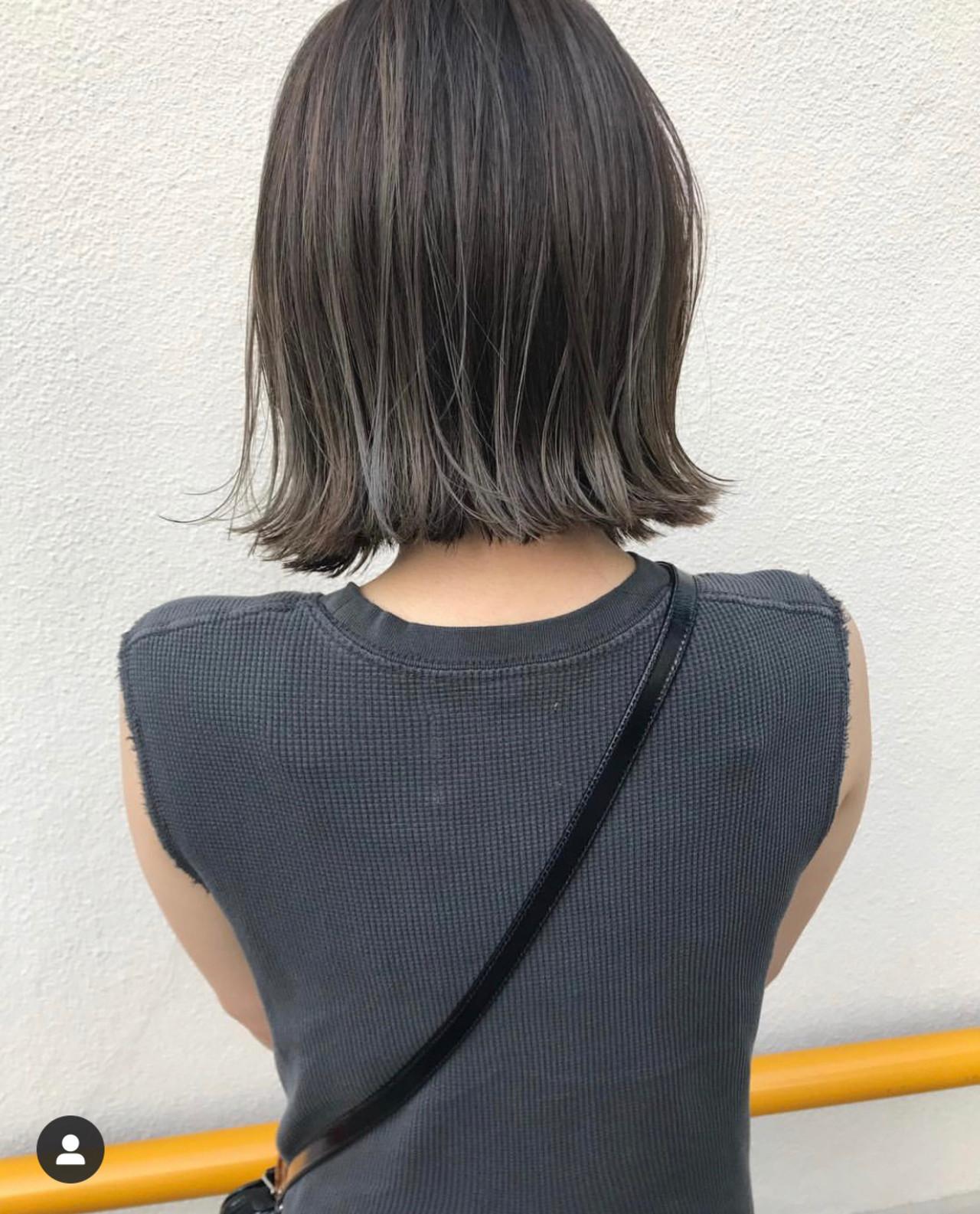 ミニボブ 切りっぱなしボブ ナチュラル ボブ ヘアスタイルや髪型の写真・画像