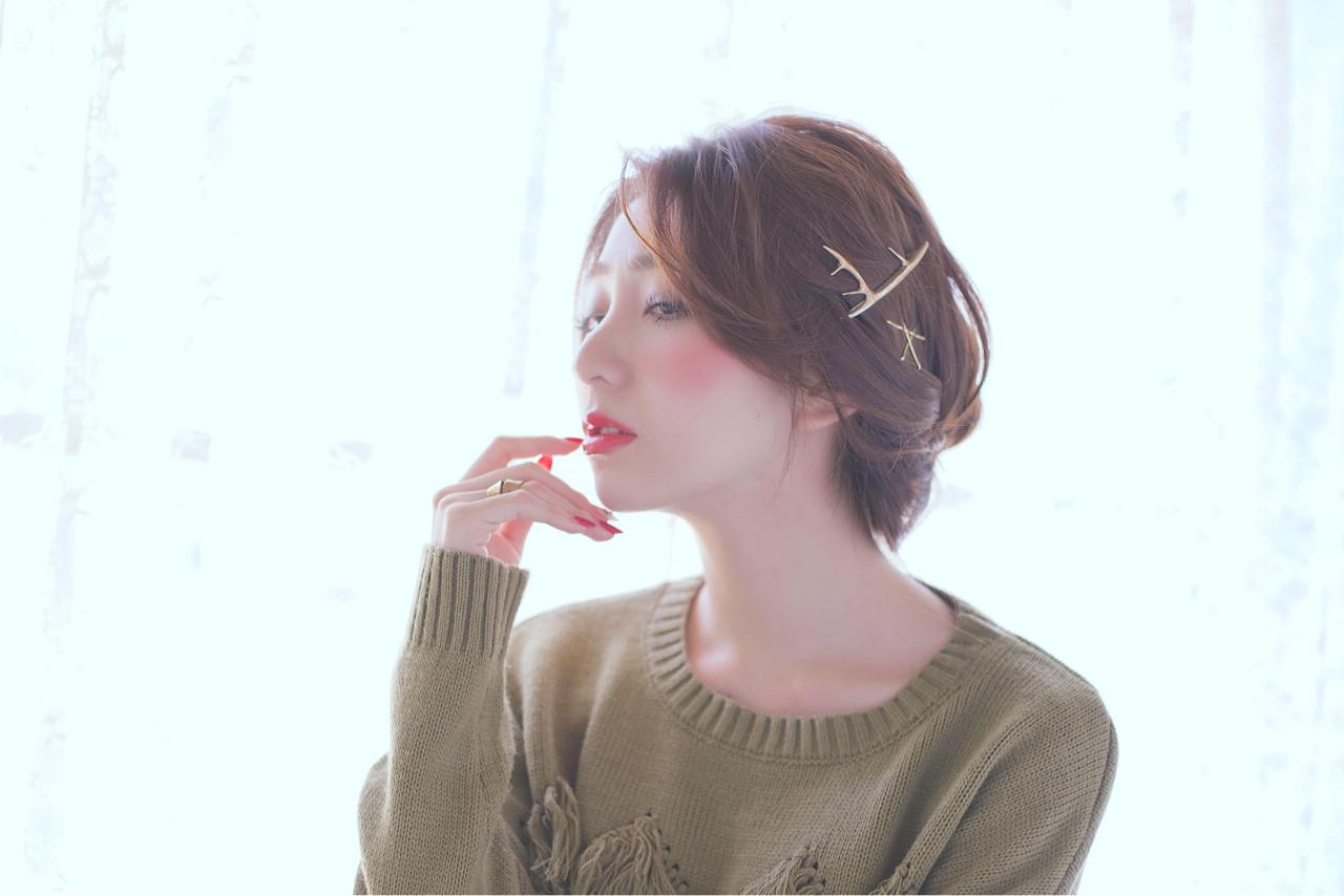 ショート 大人かわいい 簡単ヘアアレンジ セミロング ヘアスタイルや髪型の写真・画像